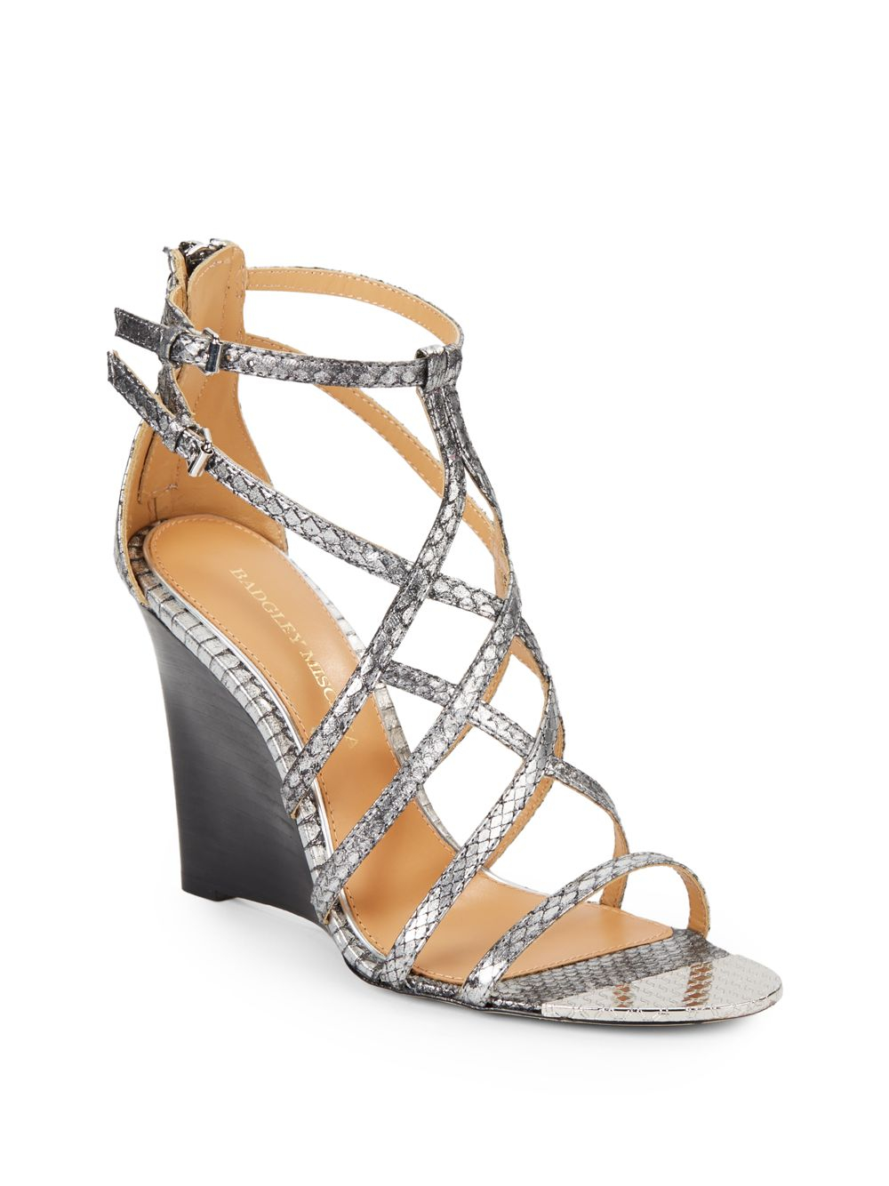 Badgley Mischka Mora Snake Embossed Leather Wedge Sandals