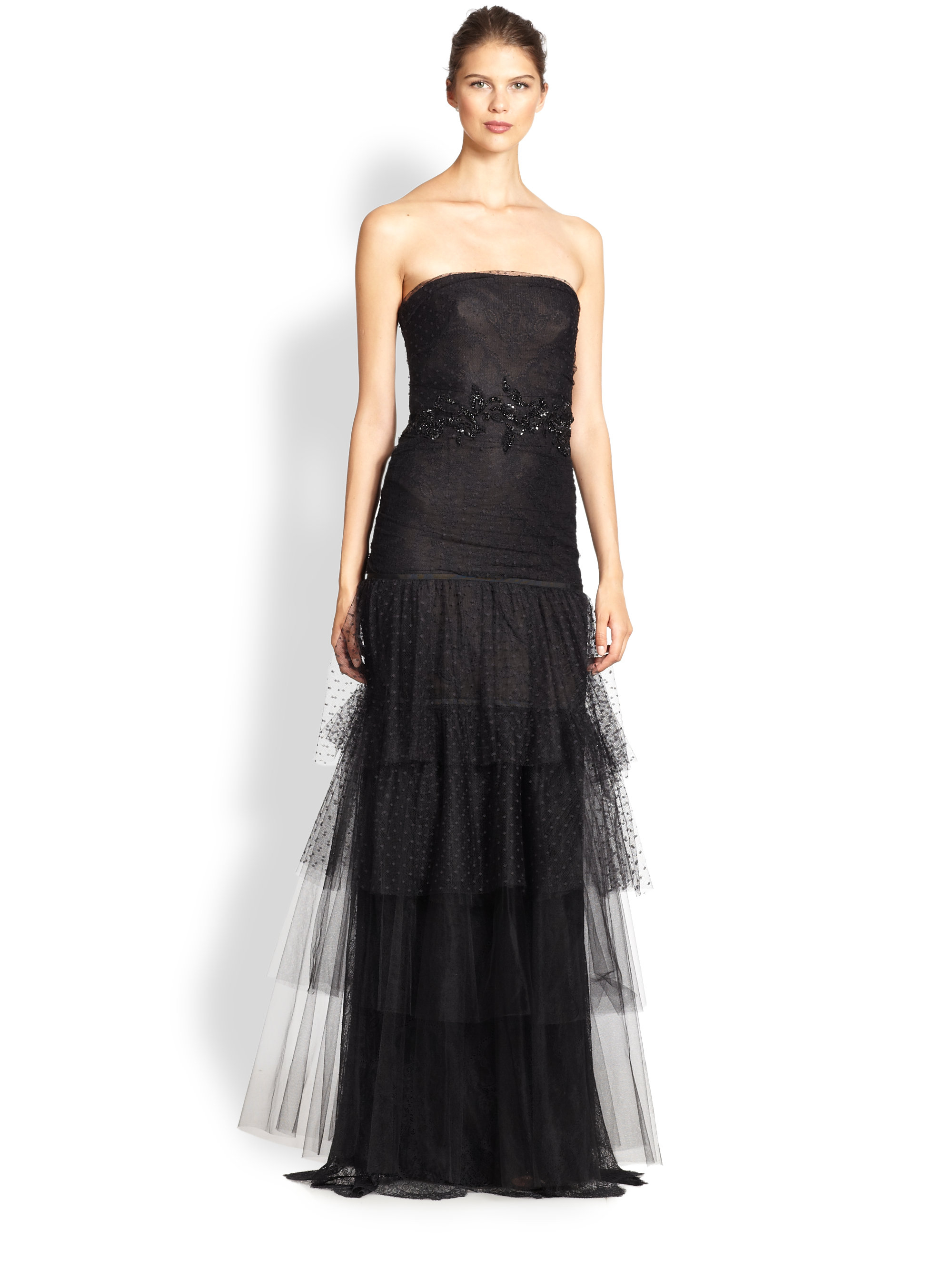 Notte by marchesa Beaded Lace & Tulle Gown in Black