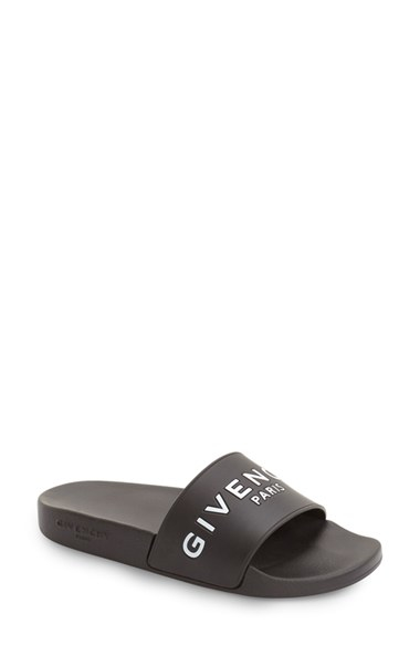 Givenchy Logo Rubber Slides In Black For Men Lyst