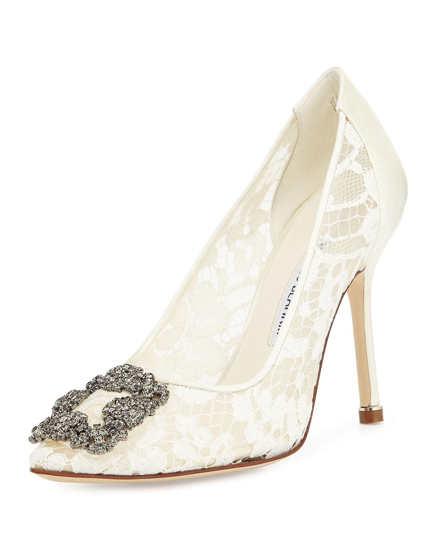 Lyst manolo blahnik hangisi floral lace crystal toe for Shoe designer manolo blahnik
