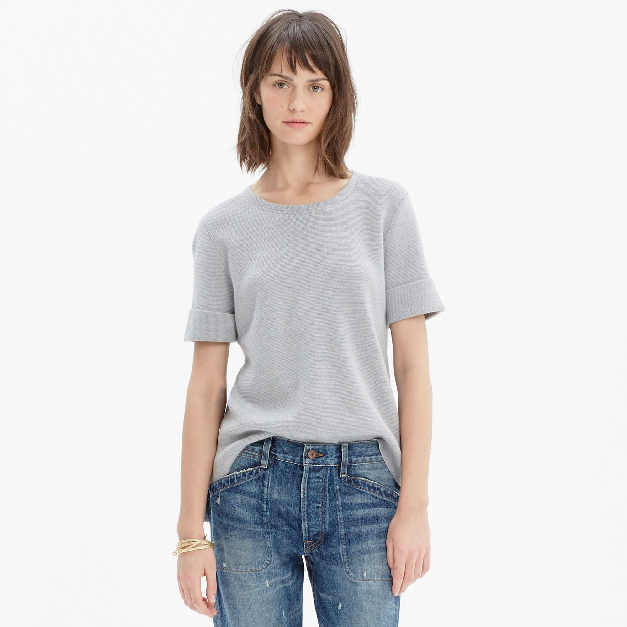 Madewell Short-sleeve Sweater in Gray | Lyst