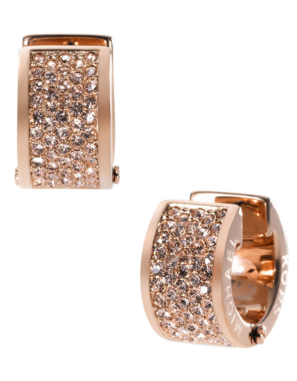49042d69ebc5a Michael Kors Rose Gold Tone Crystal Hoop Earrings - Best All Earring ...