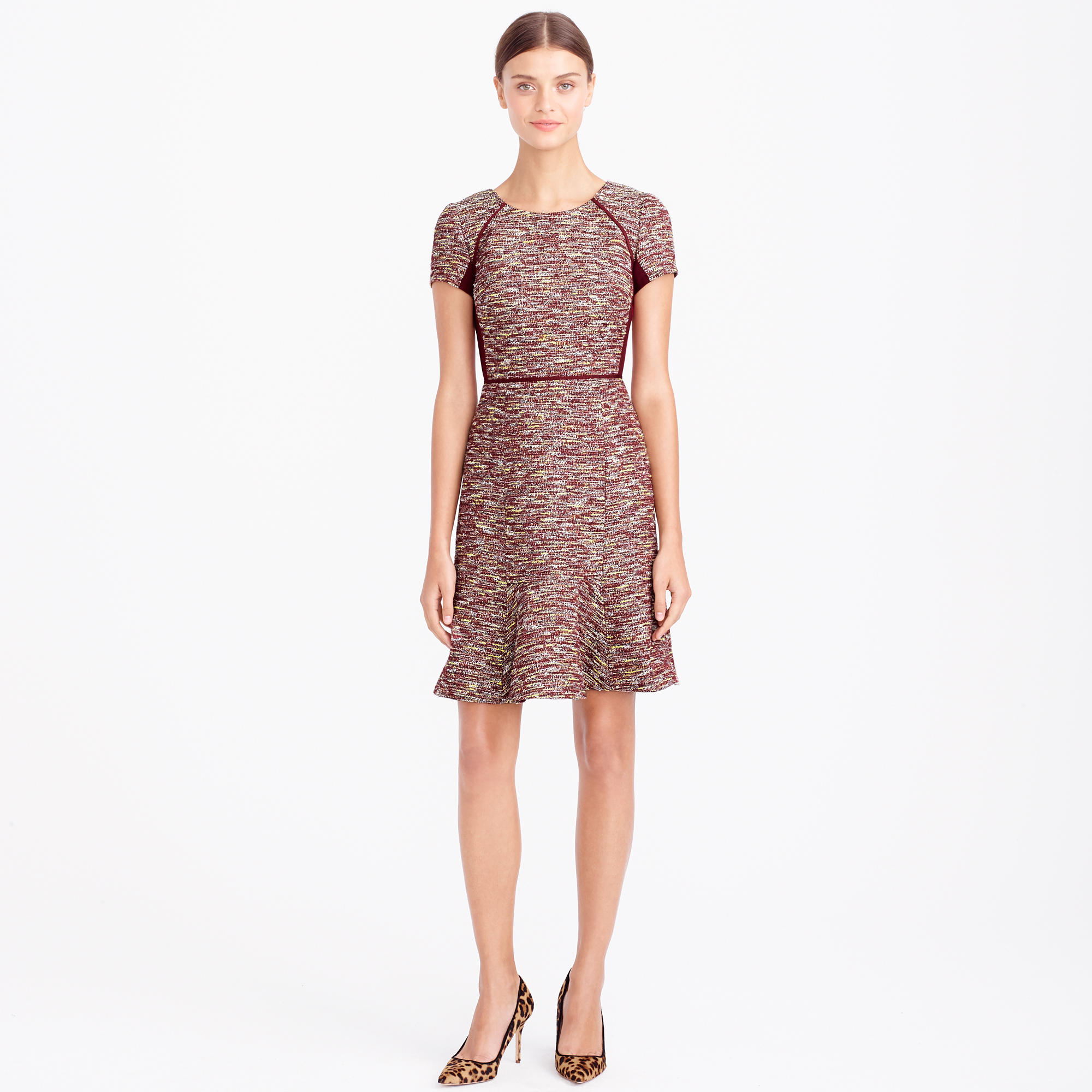 J Crew Mixed Tweed Dress In Metallic In Garnet Red Lyst