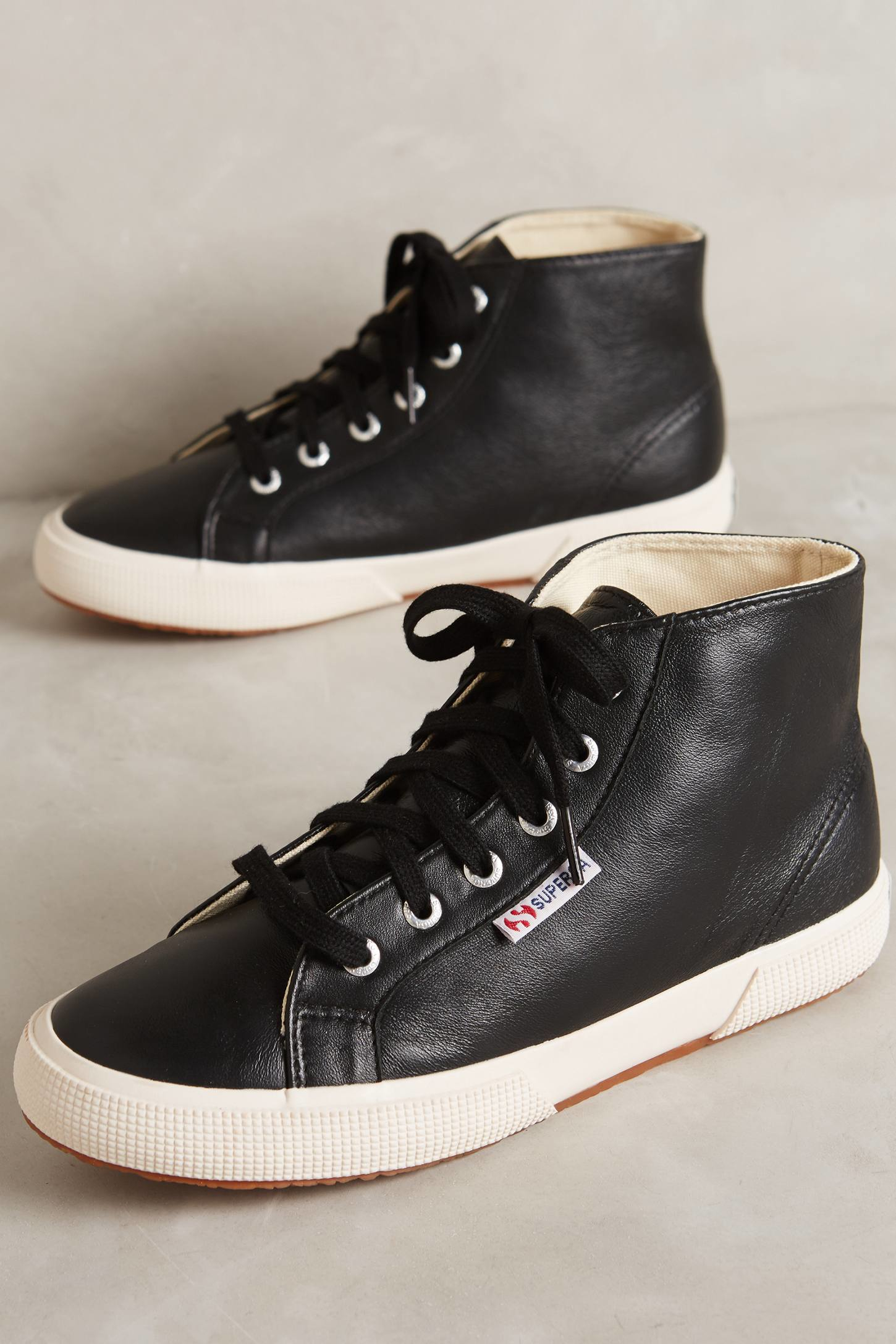 superga leather high top sneakers in black lyst