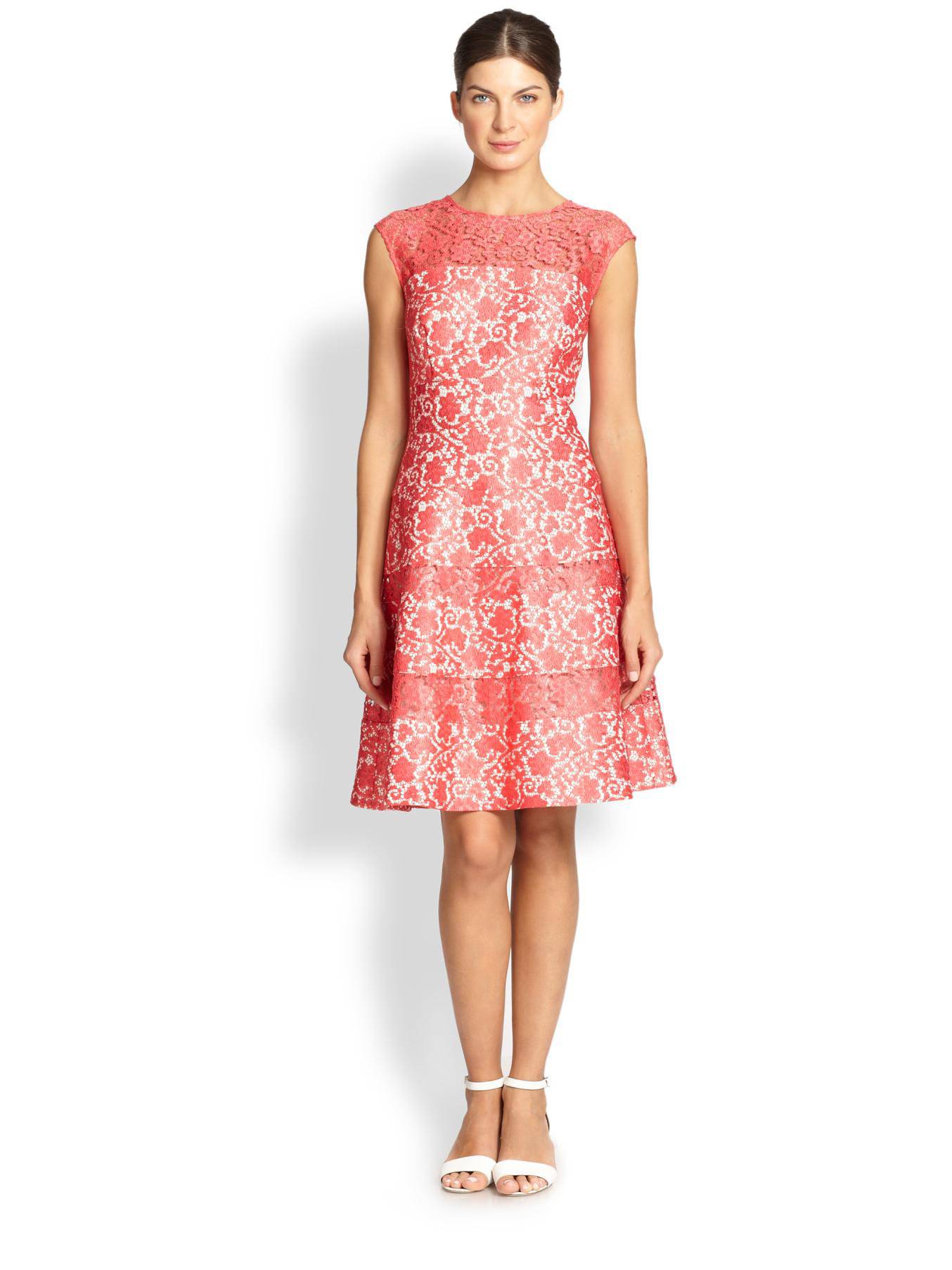 Kay Unger Lace Fit Amp Flare Dress In Pink Lyst