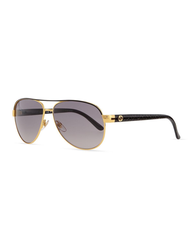 Lyst Gucci Metal Aviator Sunglasses In Metallic For Men