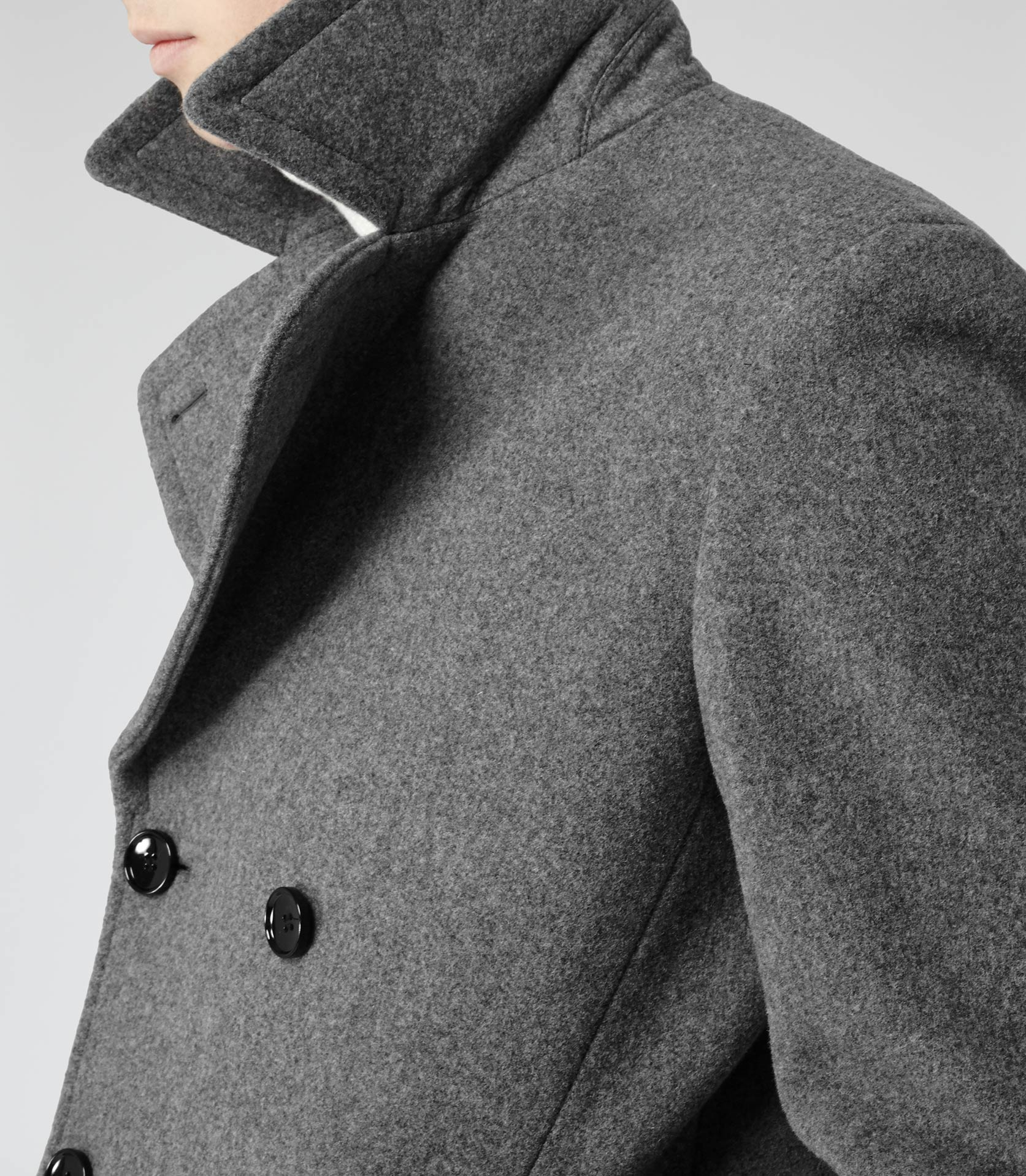 Reiss Roman Wool-Rich Peacoat in Gray for Men | Lyst