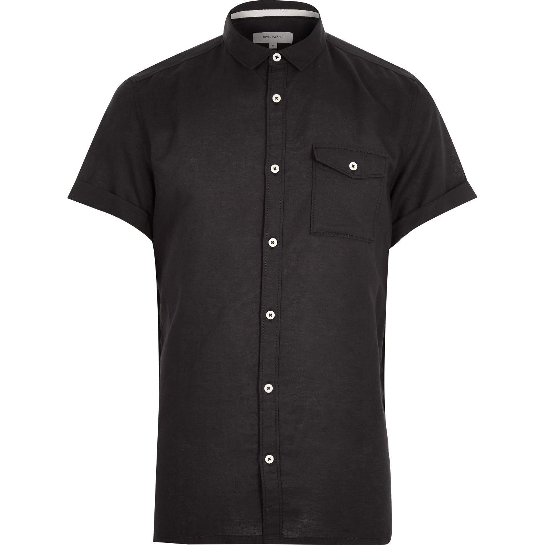 River island Black Linen-blend Short Sleeve Shirt in Black ...