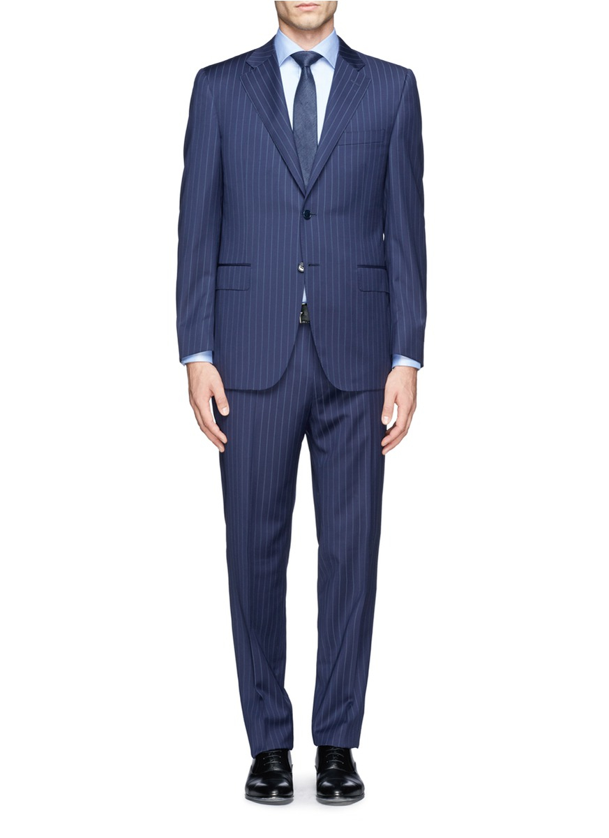 Lyst Canali Chalkstripe Suit In Blue For Men