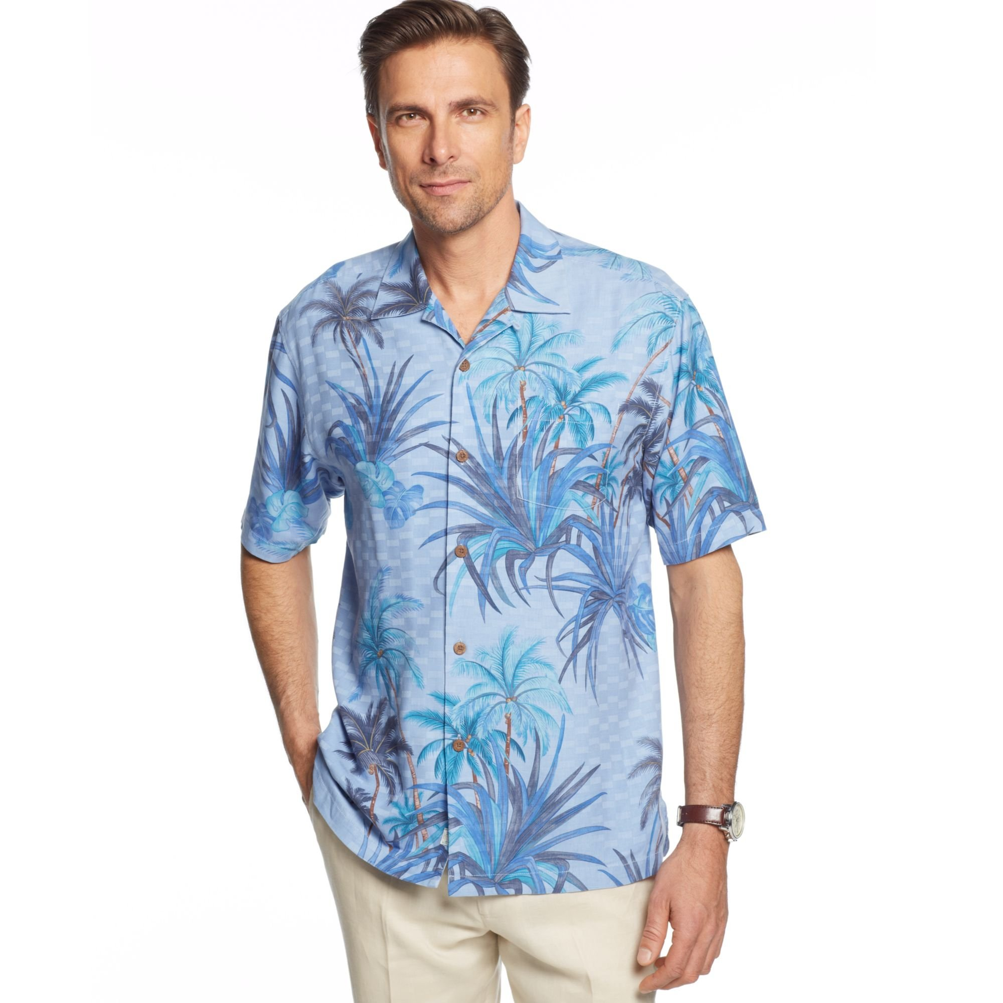 Tommy Bahama Big And Tall Short Sleeve Silk Serenity Palms