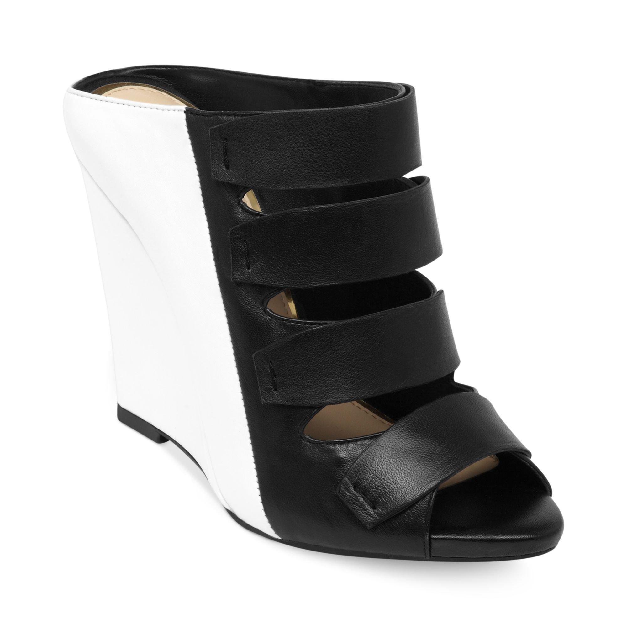 Jessica Simpson Marah Wedge Sandals In Black Black White