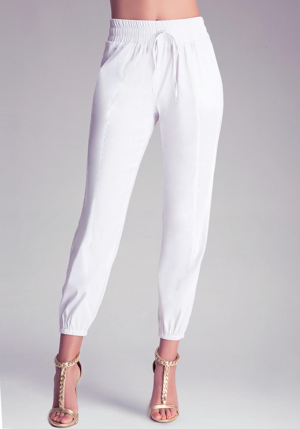Bebe Drawstring Pants in White | Lyst