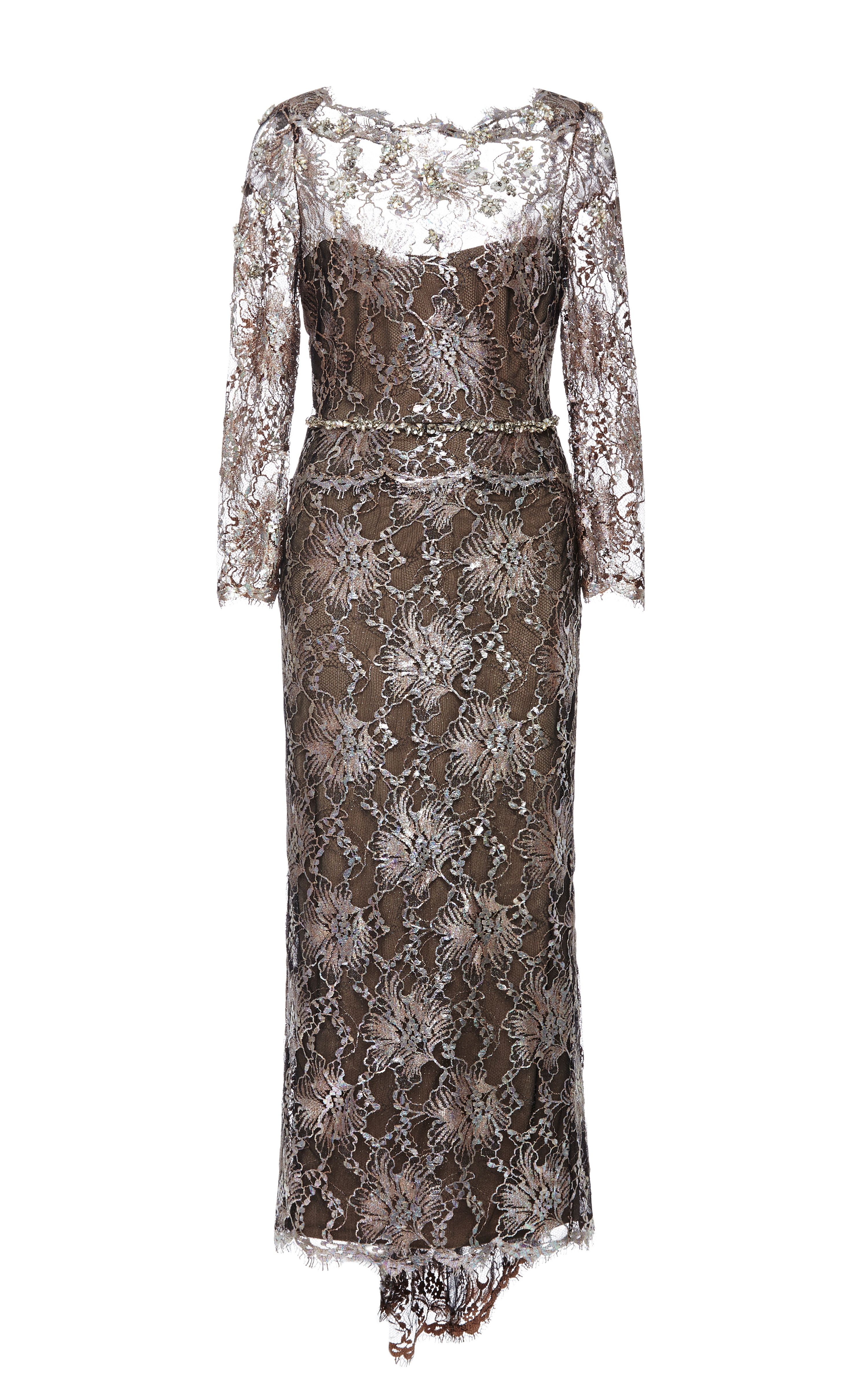marchesa laminated lace cocktail dress in silver lyst