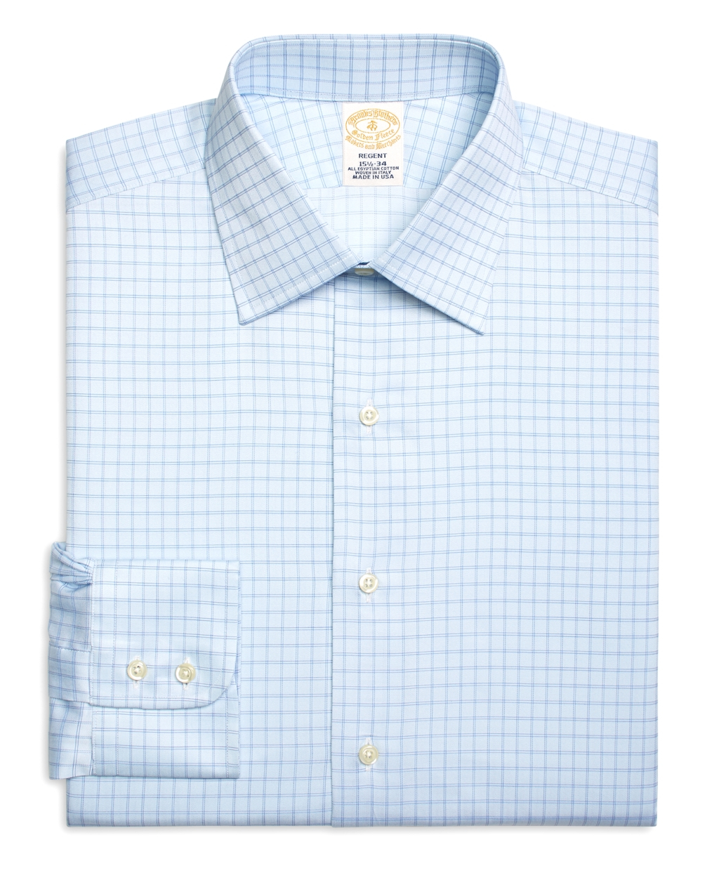Brooks brothers milano fit twin check dress shirt in blue for Blue check dress shirt
