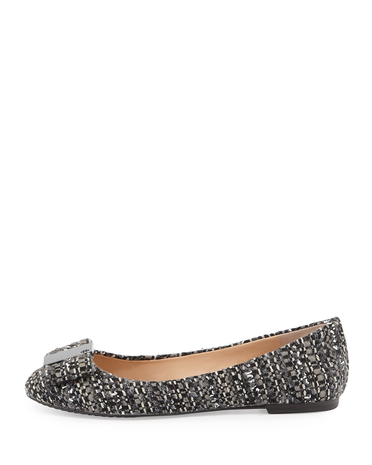 Lyst Tory Burch Chase Tweed Bow Ballerina Flat In Black