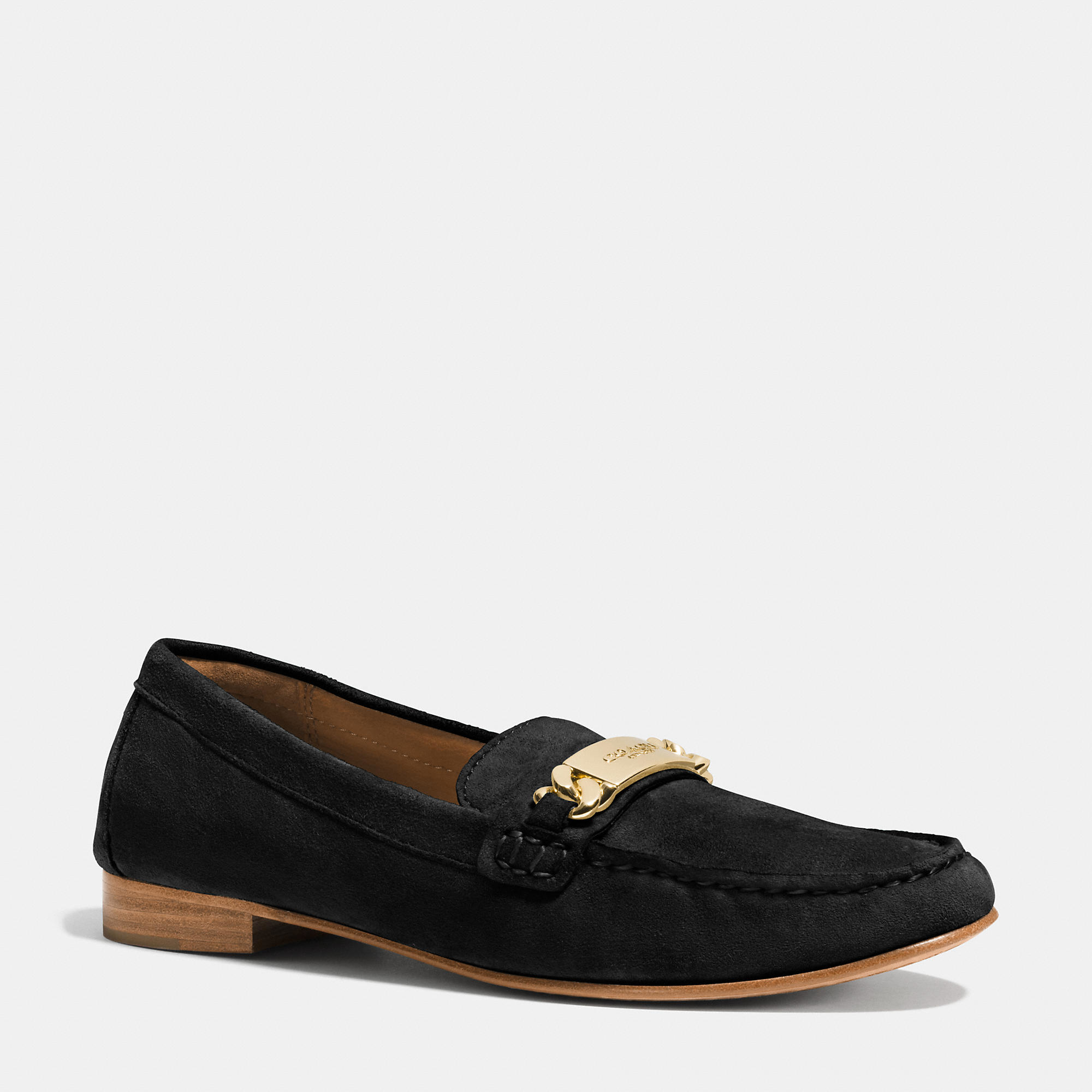 ad05844c2e7 Lyst - COACH Kimmie Topstitched Suede Loafers in Black