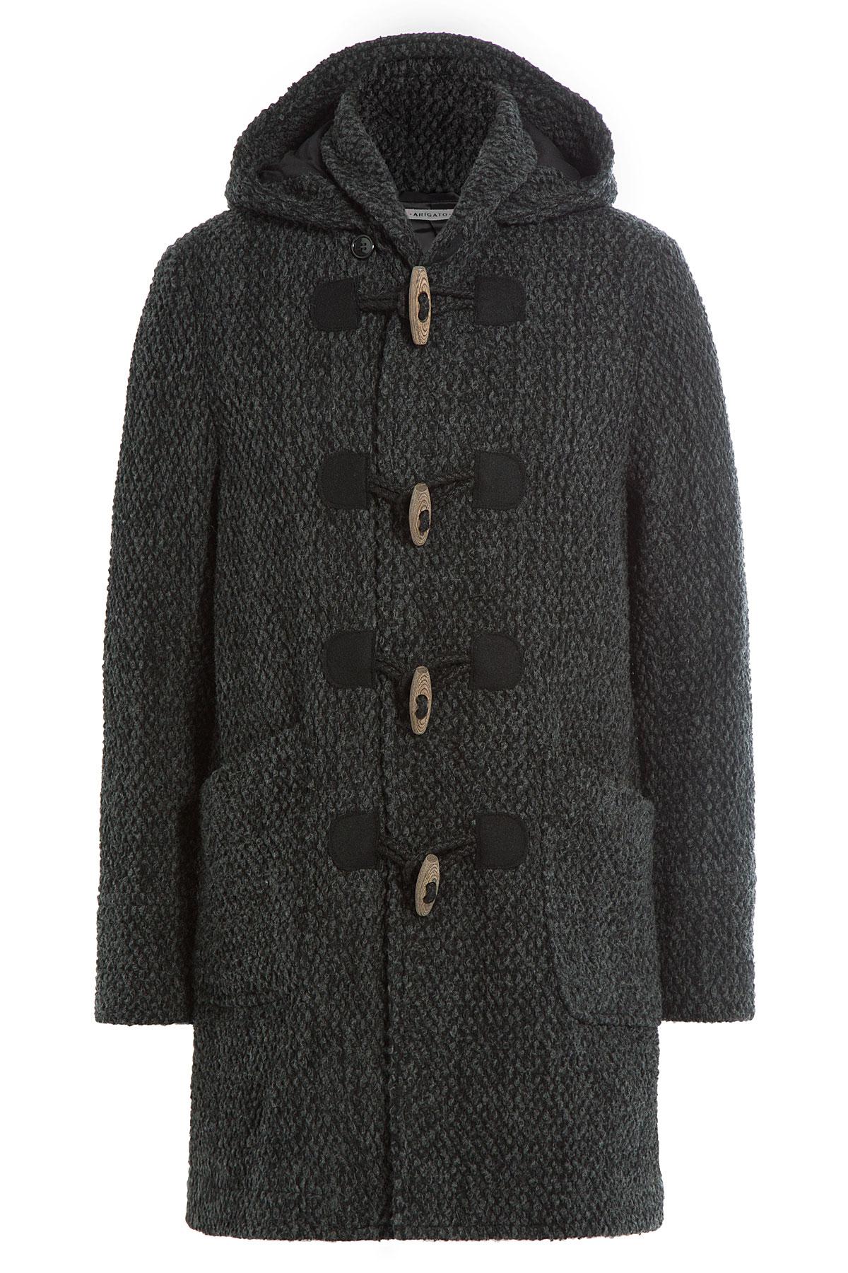 Blue blue japan Wool Duffle Coat - Grey in Black for Men | Lyst