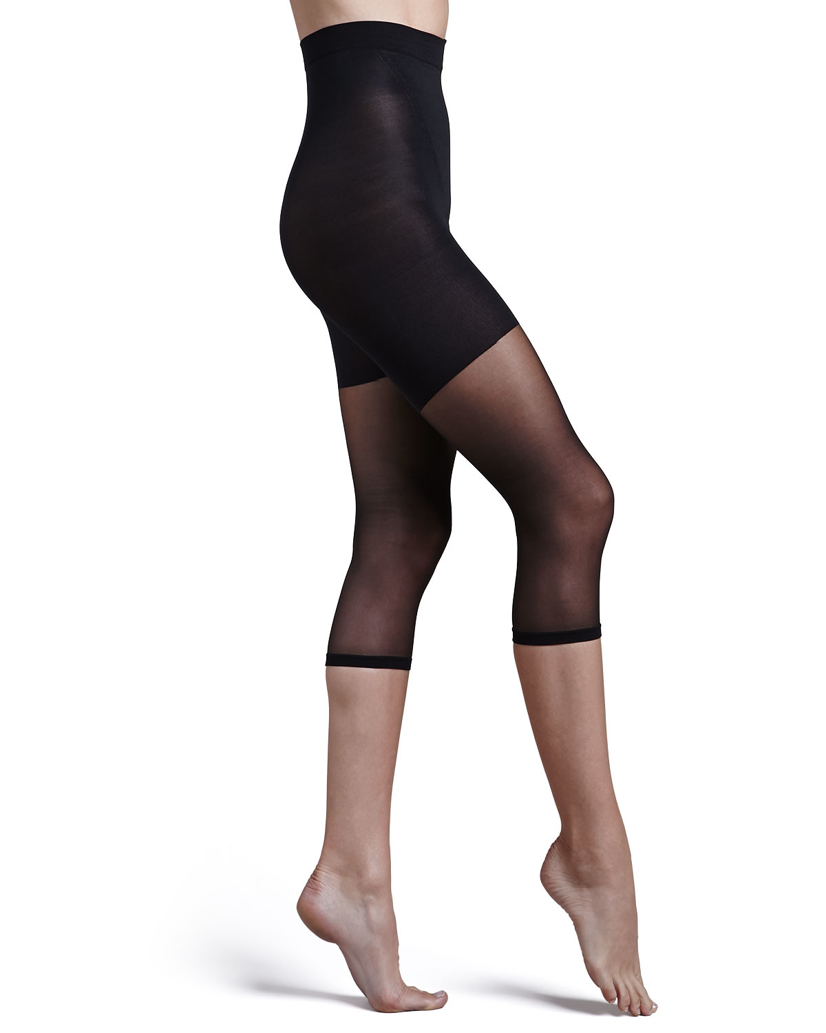 spanx power footless capri tights in black lyst. Black Bedroom Furniture Sets. Home Design Ideas