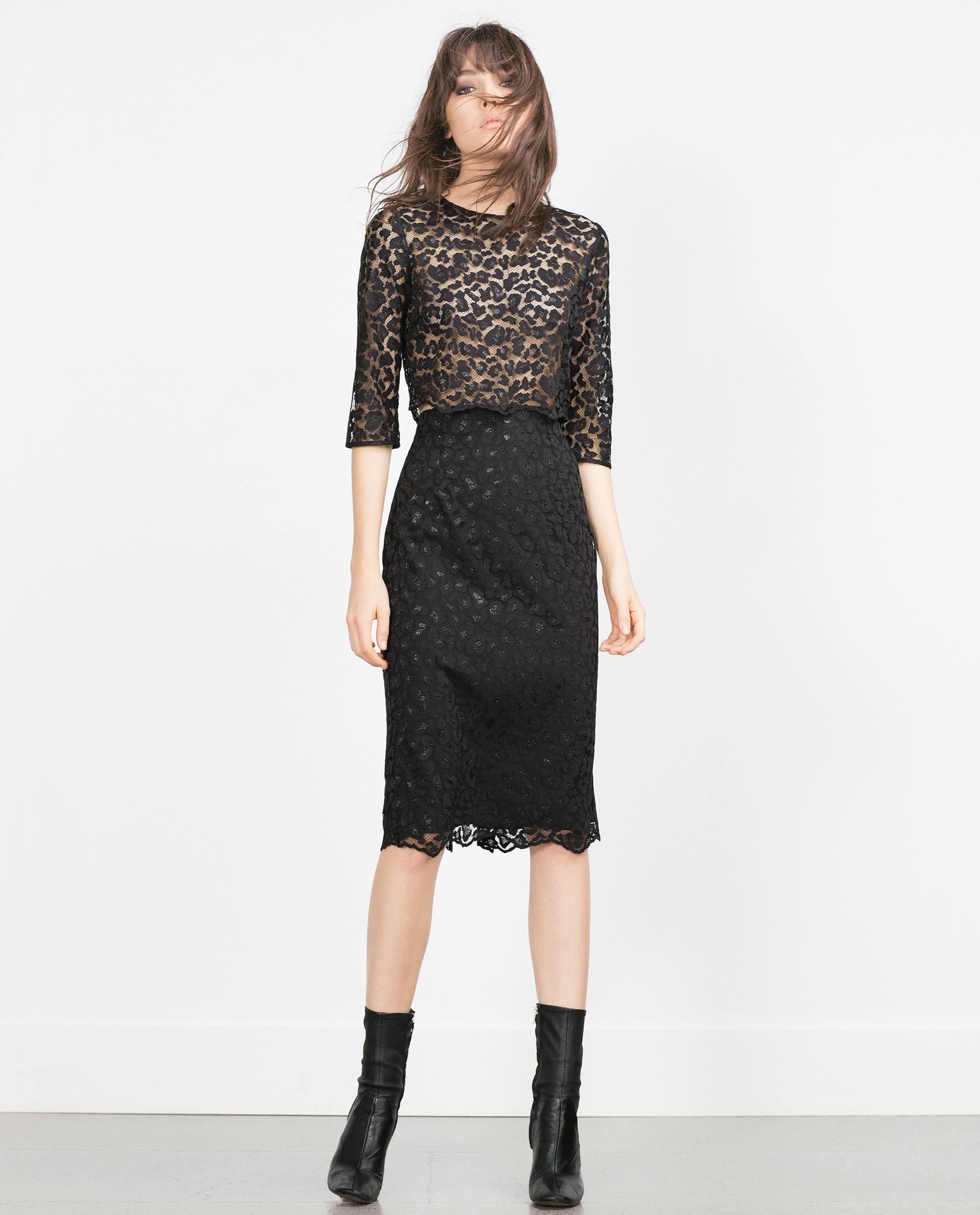 Zara Lace Pencil Skirt in Black | Lyst