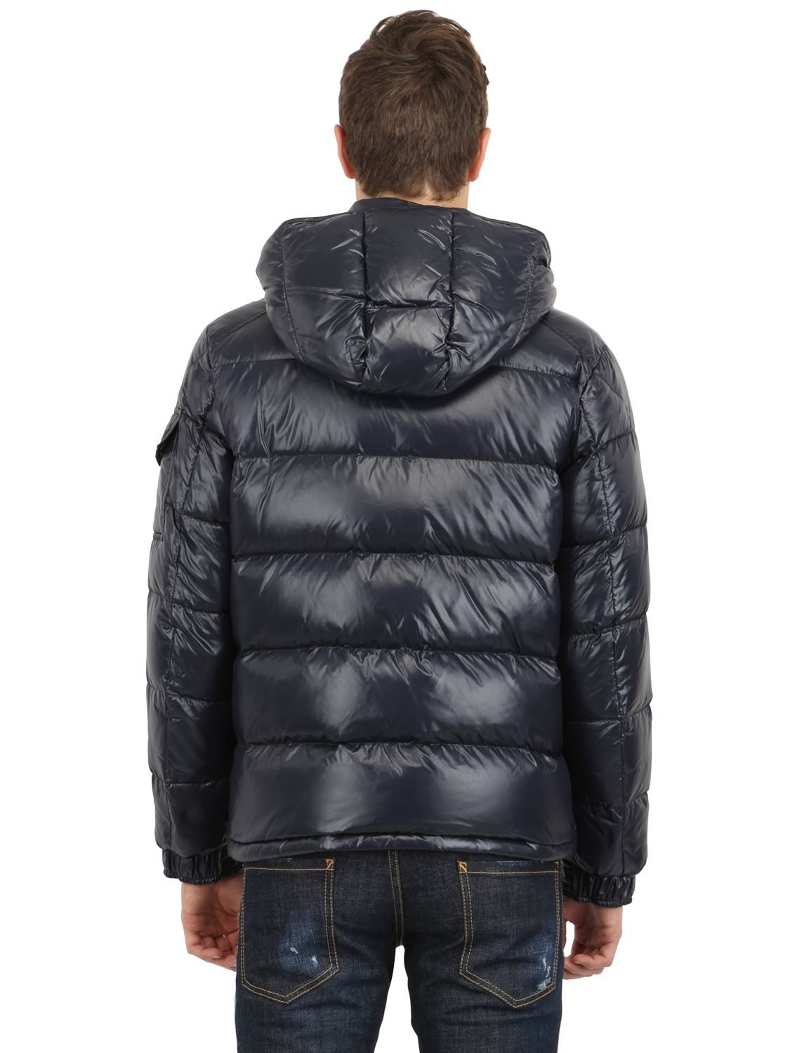 moncler shiny blue jacket