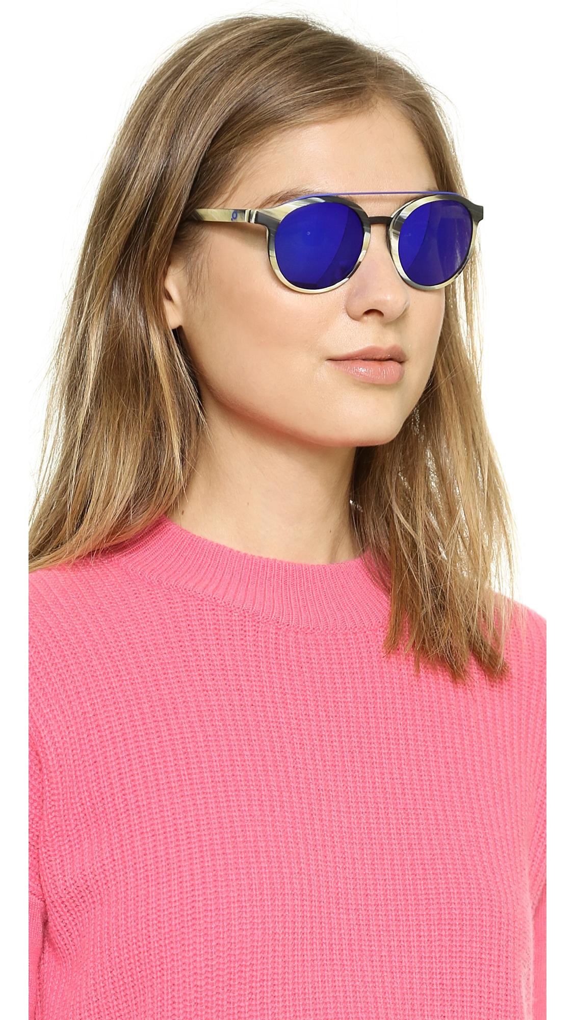 Etnia Barcelona Africa 06 Sunglasses Horn Blue In Green