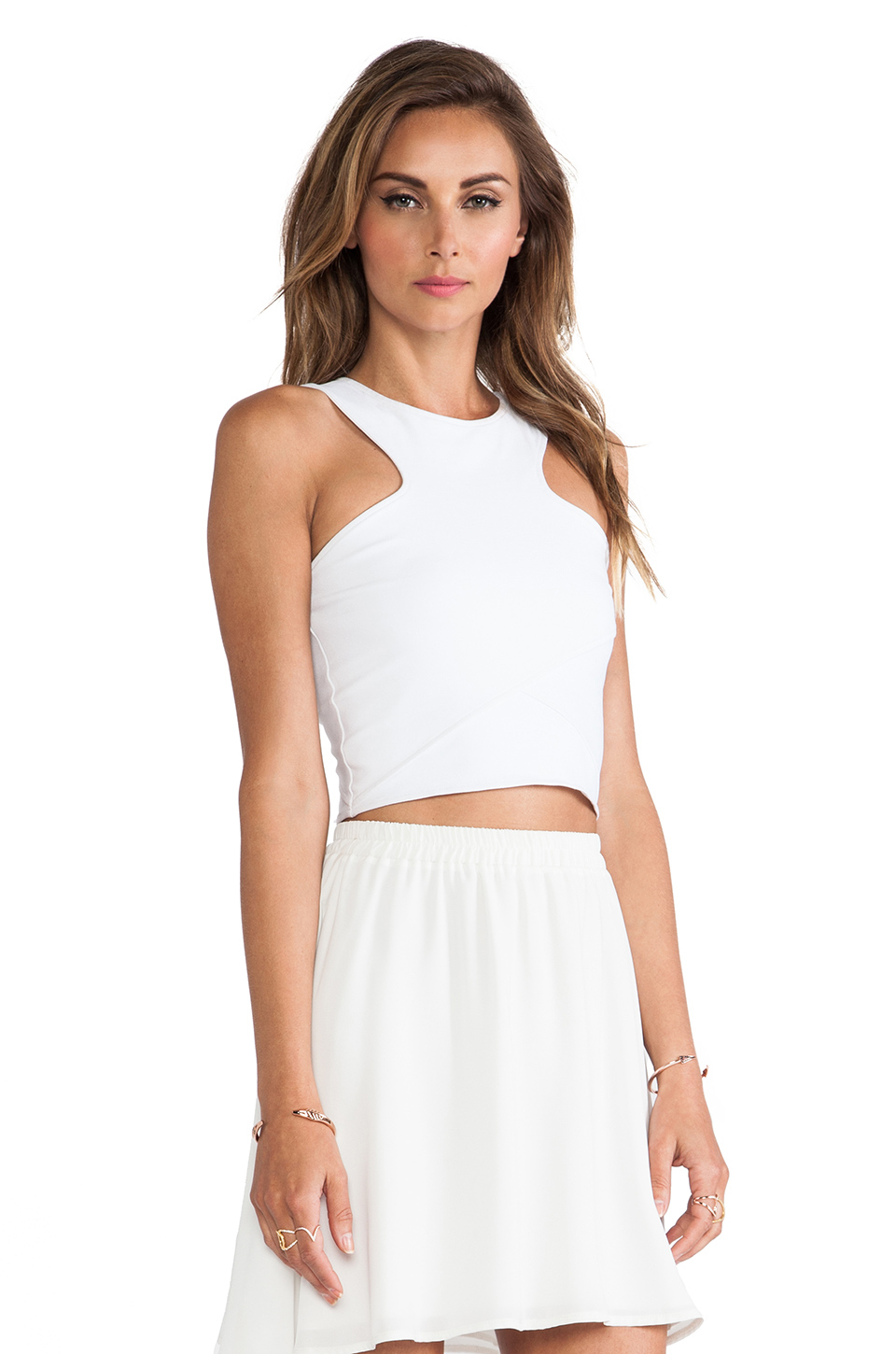 087151ac62474 Lyst - Donna Mizani Racer Front Crop Top in White