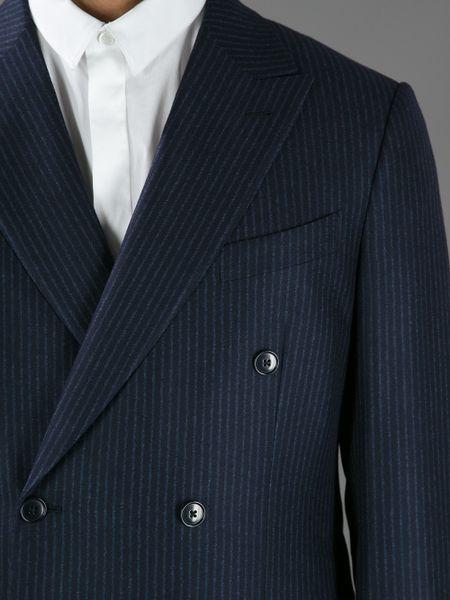 Ermenegildo Zegna Double Breasted Pinstripe Suit In Blue