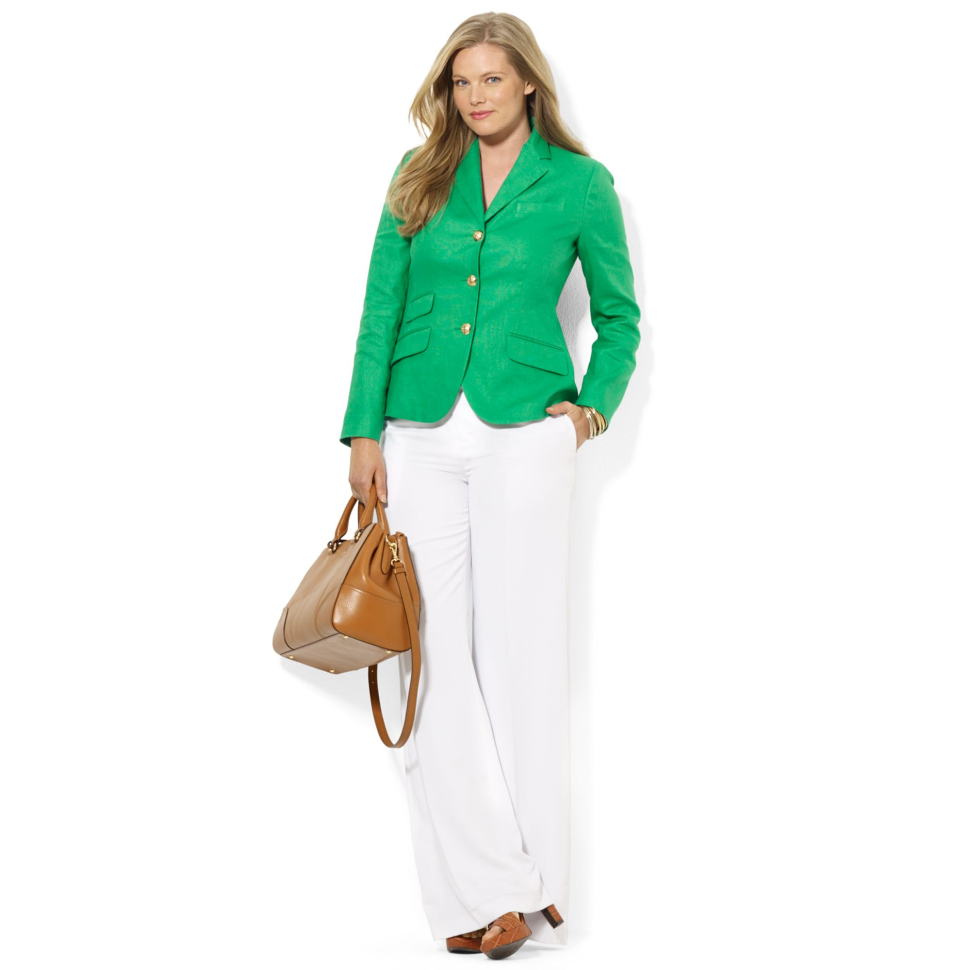 Lauren by ralph lauren Plus Size Threebutton Linen Blazer in Green ...