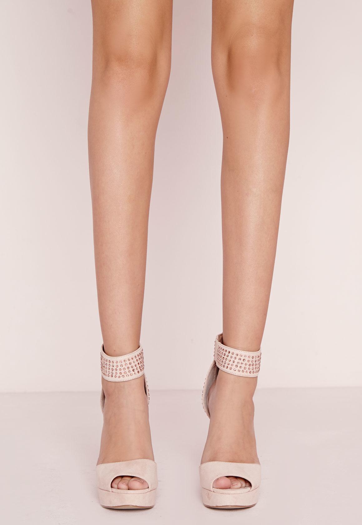 f344ba027d5b0c Lyst - Missguided Embellished Platform Heeled Sandals Blush in Pink