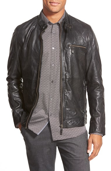 9c50a02c93c822 Lyst - Ted Baker  visery  Leather Moto Jacket in Black for Men