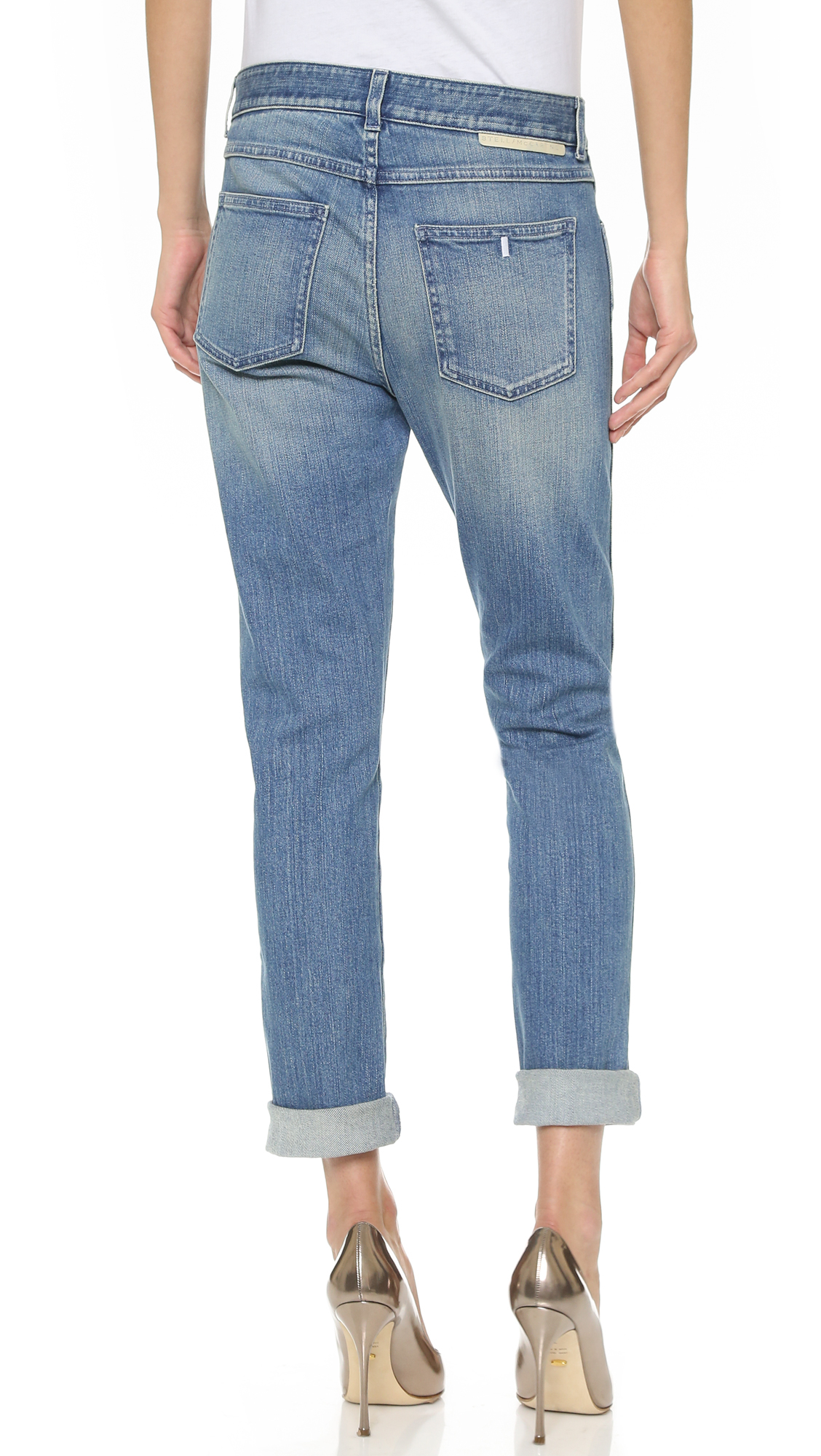 27773d7ffcc1c Lyst - Stella McCartney Embroidered Skinny Boyfriend Jeans - Classic ...