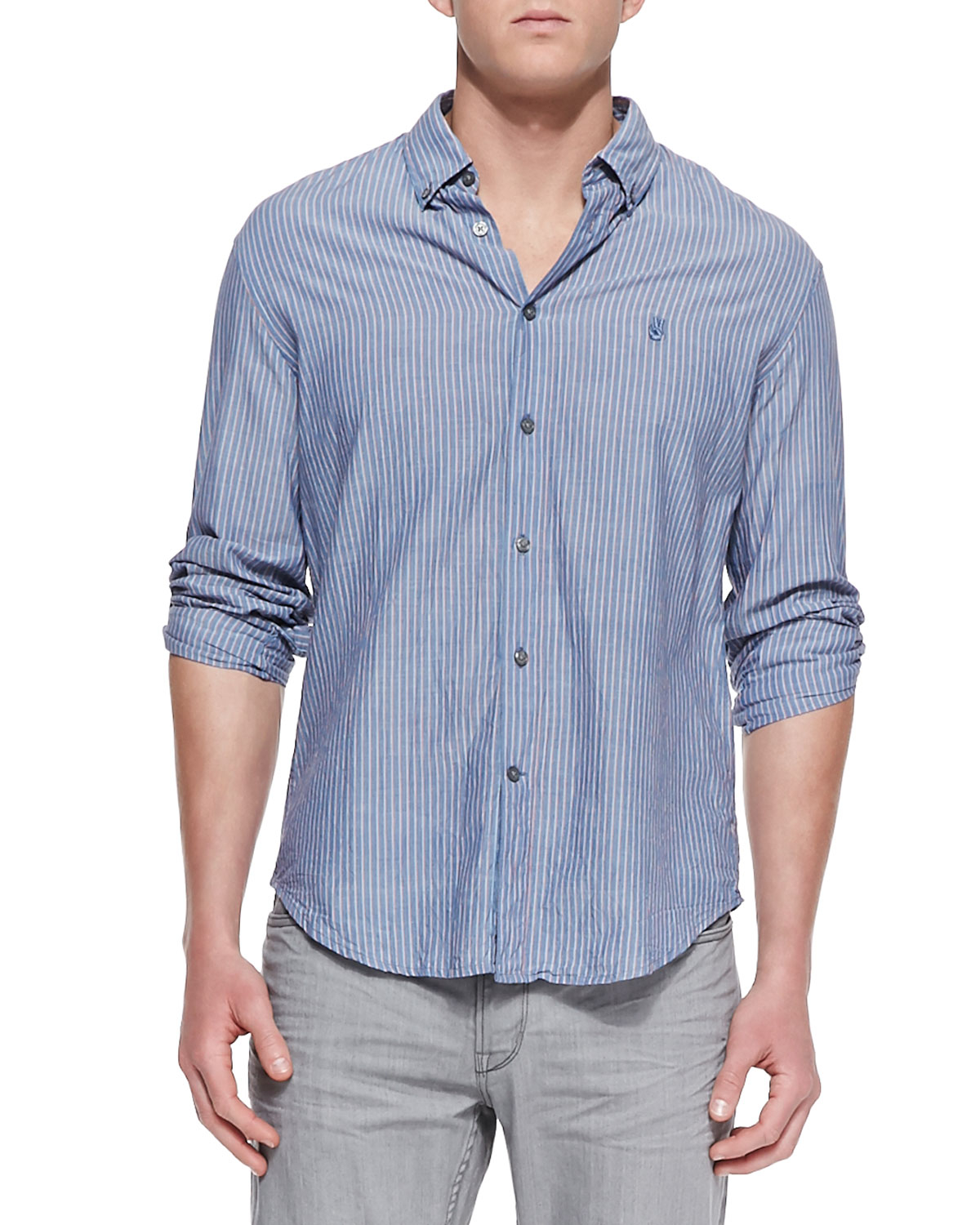 John Varvatos Striped Button Down Shirt In Blue For Men