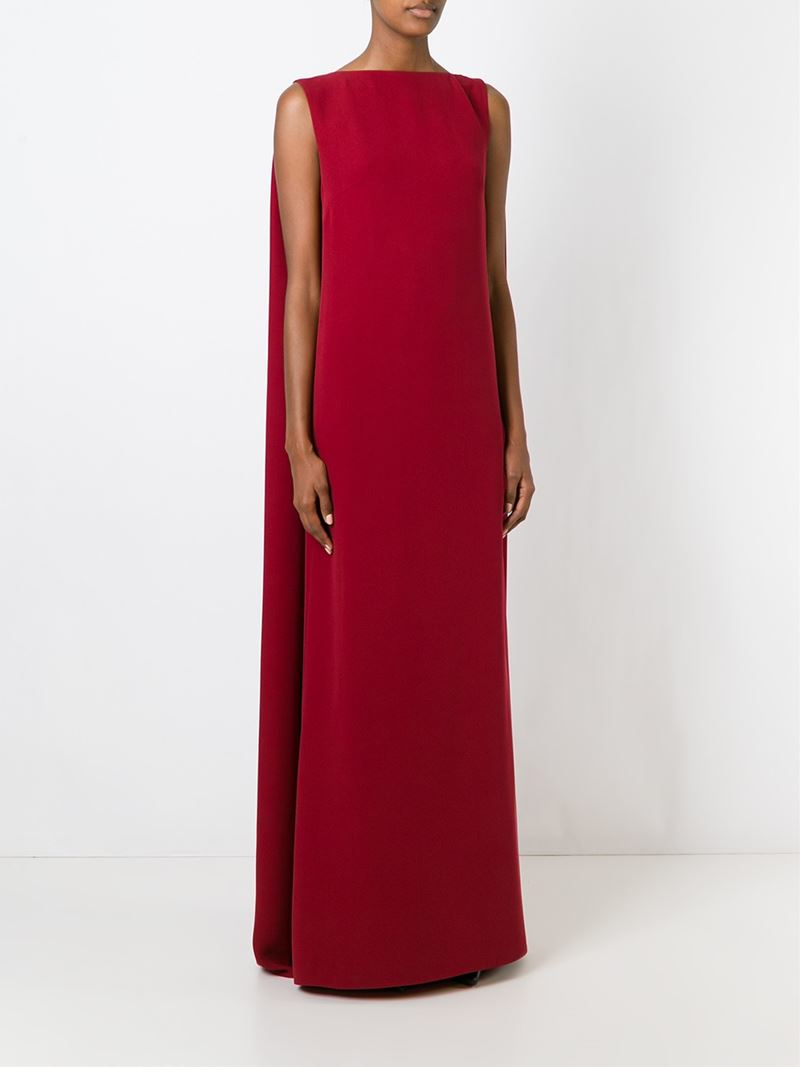 Lyst Valentino Silk Cape Gown In Red