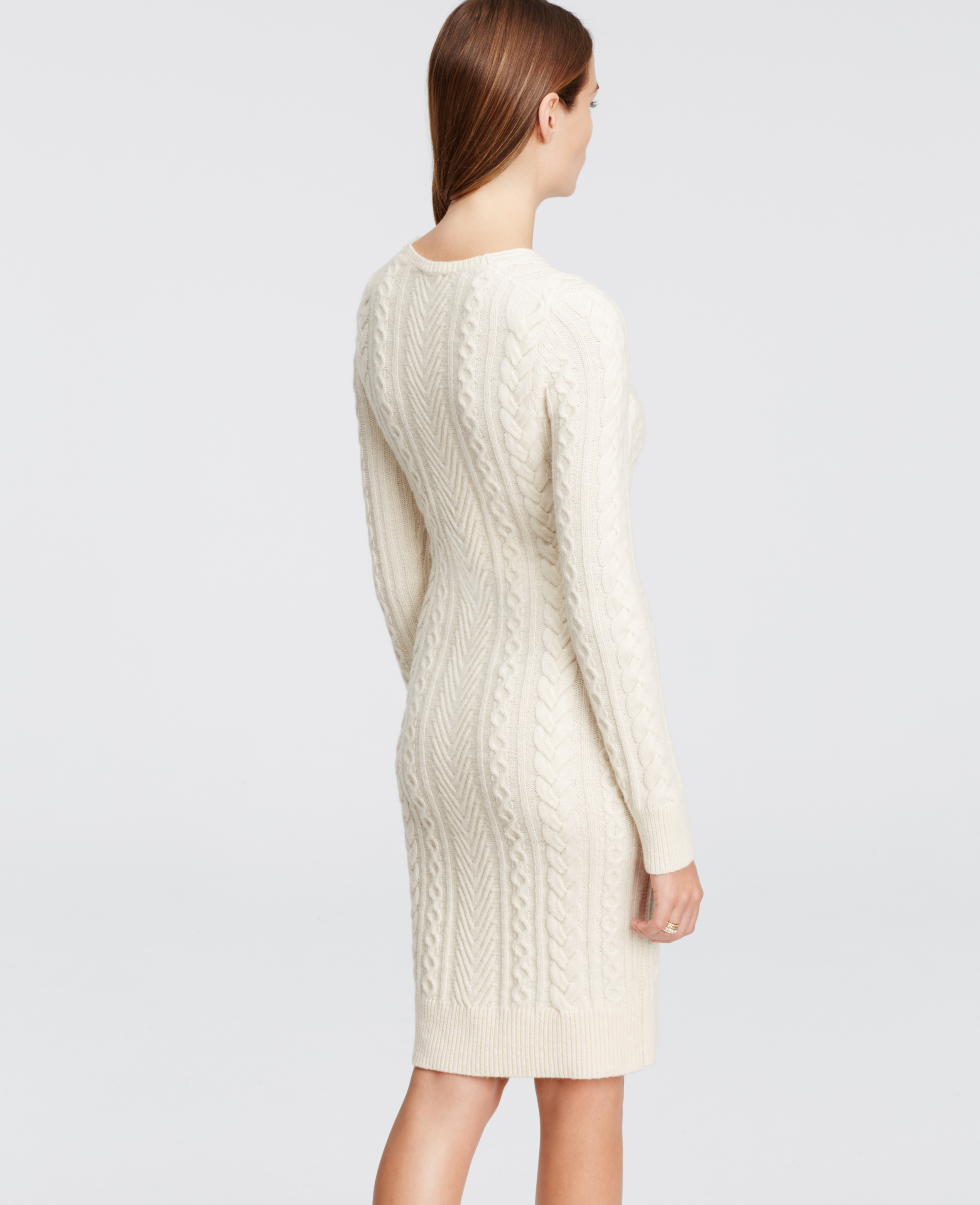 bb1a7f668ff Ann Taylor Petite V-neck Sweater Dress in Natural - Lyst