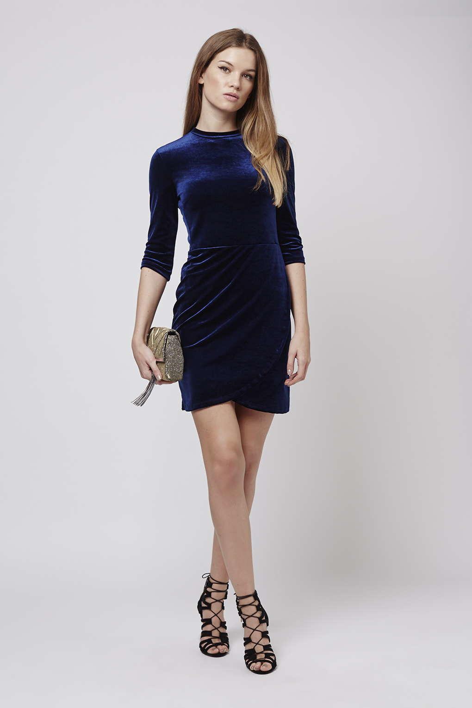 Topshop Velvet Wrap Over Bodycon Dress In Blue Lyst