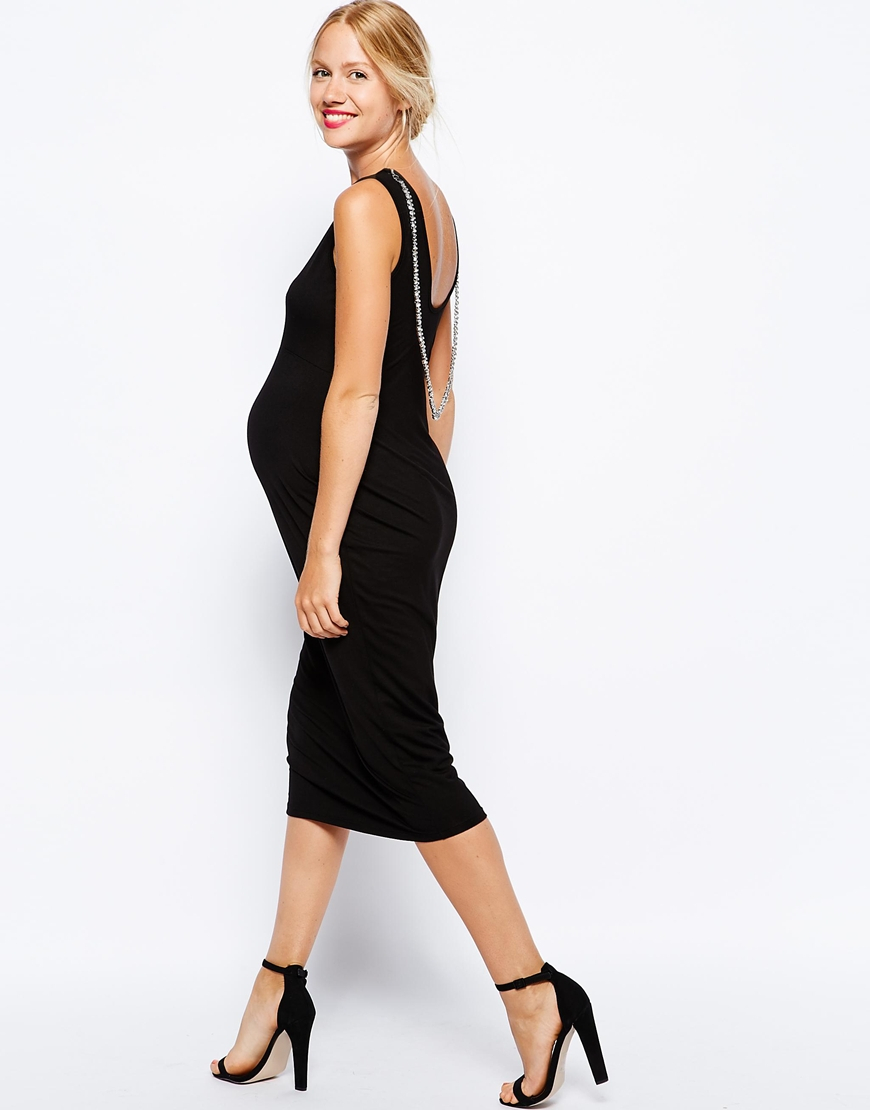 55f931c0afc54 ASOS Low Back Midi Body-Conscious Dress With Jewel Back in Black - Lyst