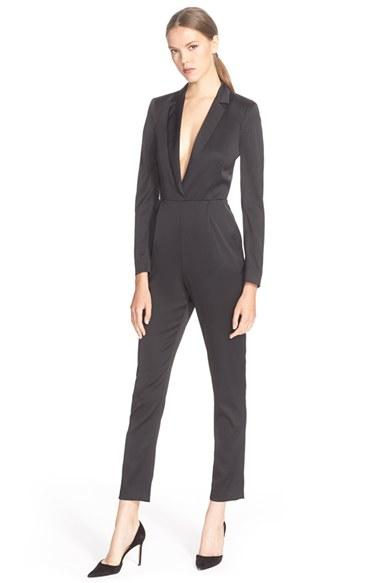 53b346e52c72 Lyst - Alice + Olivia  violetta  Tuxedo Jumpsuit in Black
