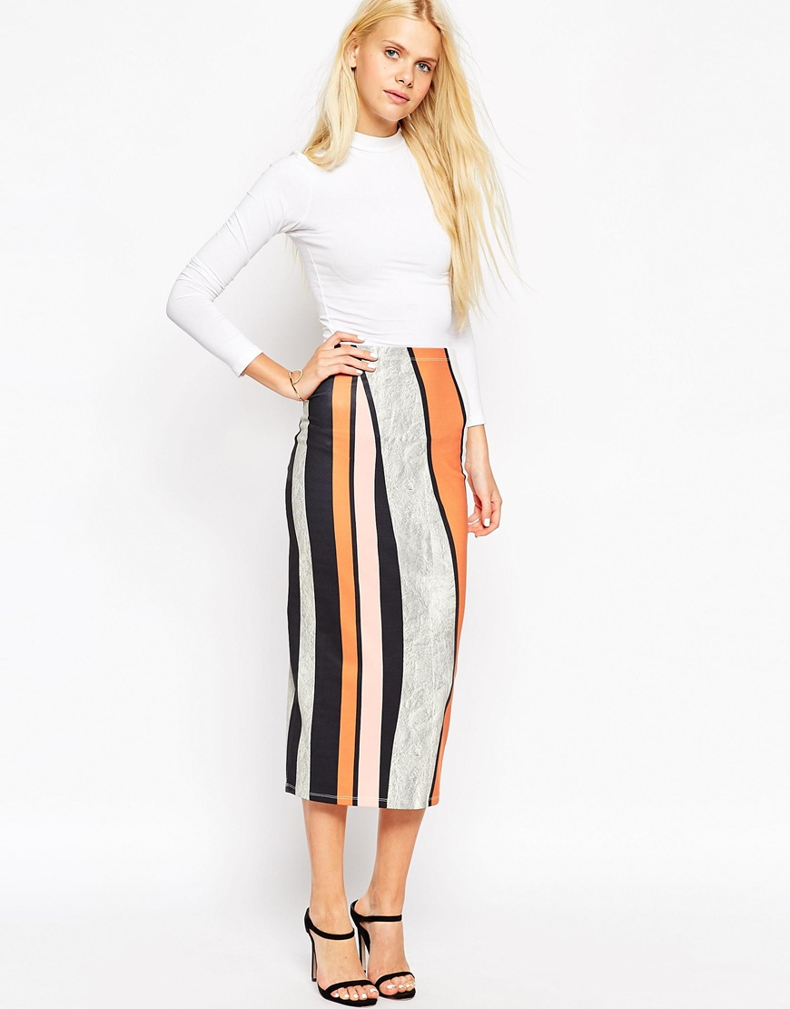 asos midi pencil skirt in abstract stripe in blue lyst