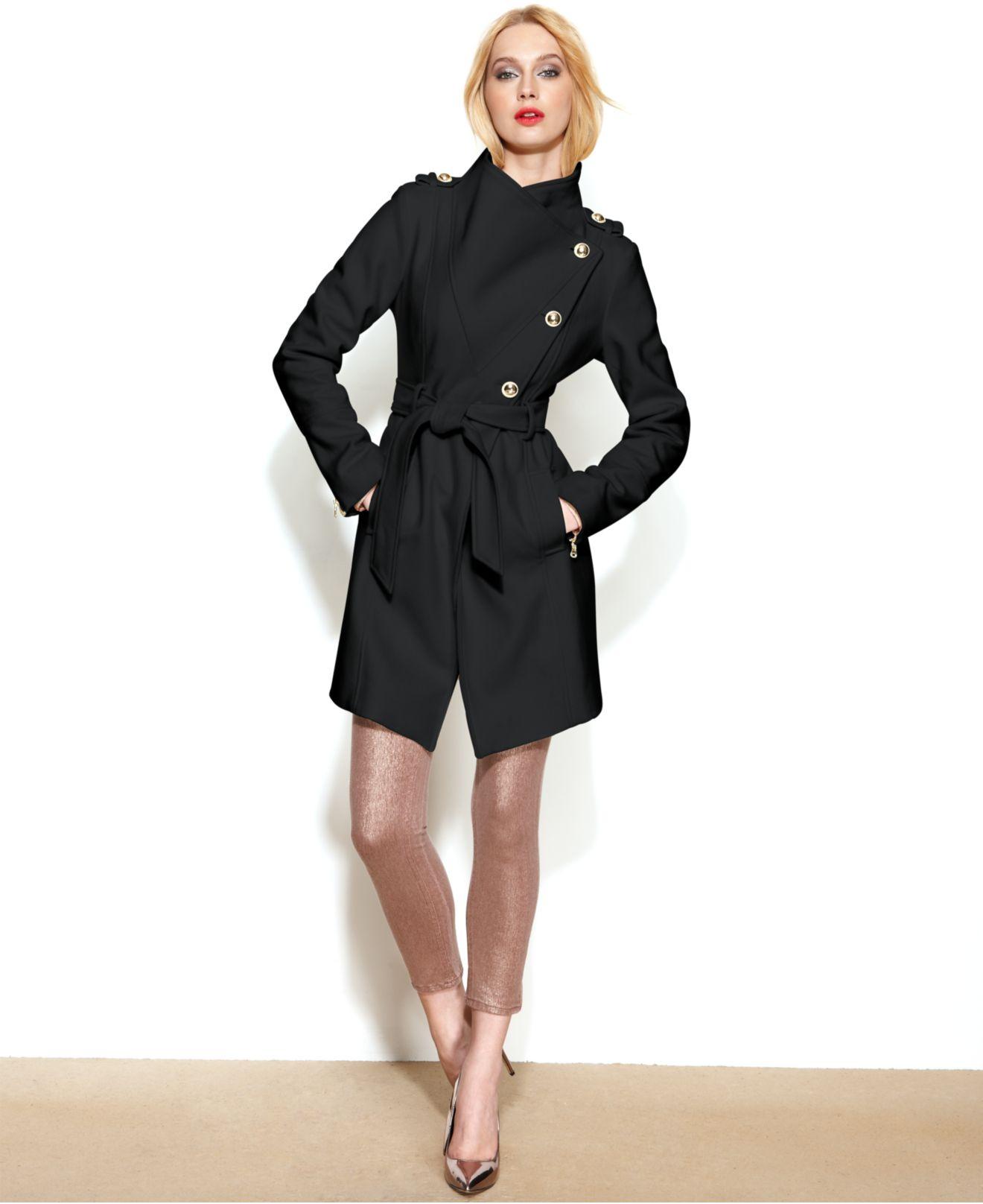 Lyst Guess Asymmetrical Wool Blend Belted Coat In Black