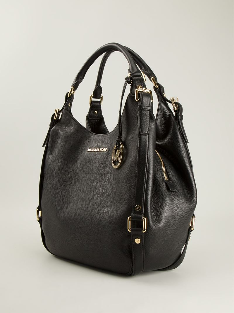 michael michael kors large 39 bedford 39 hobo bag in black lyst. Black Bedroom Furniture Sets. Home Design Ideas