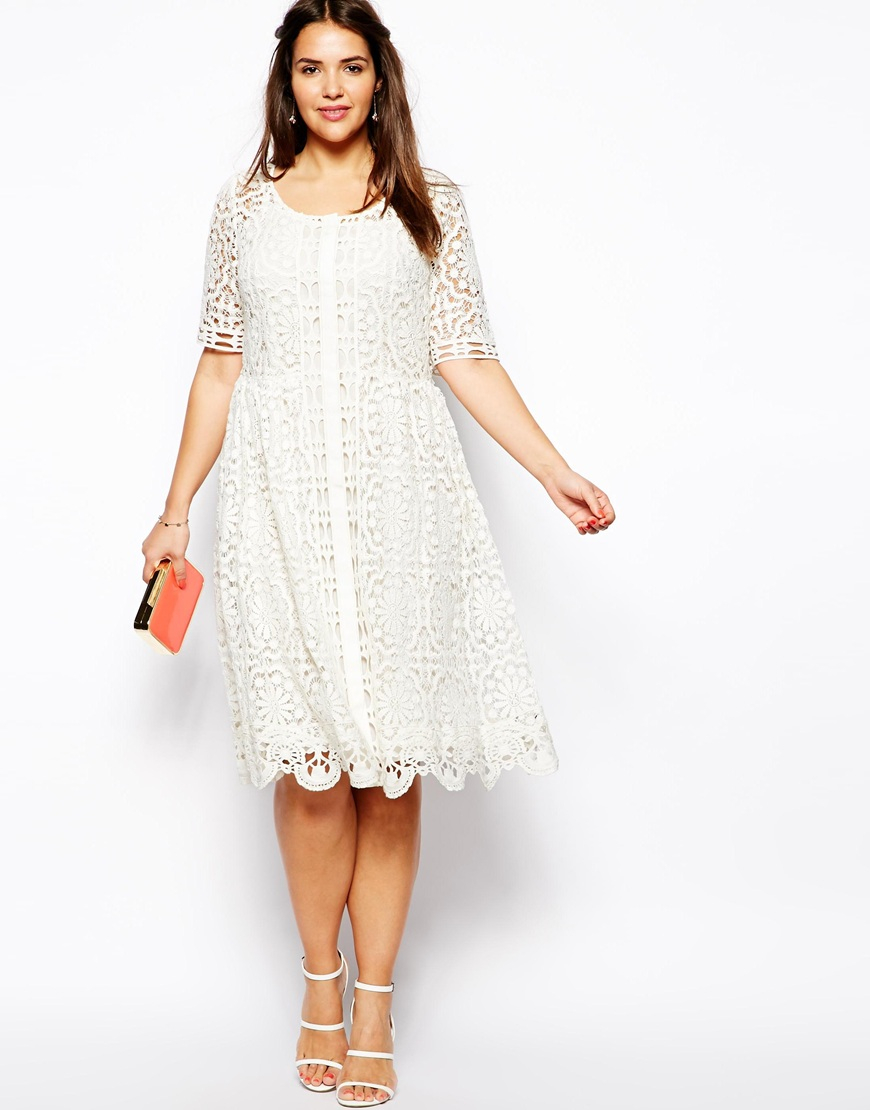 07d1d94682 ASOS Premium Lace Midi Dress in Crochet Lace in White - Lyst