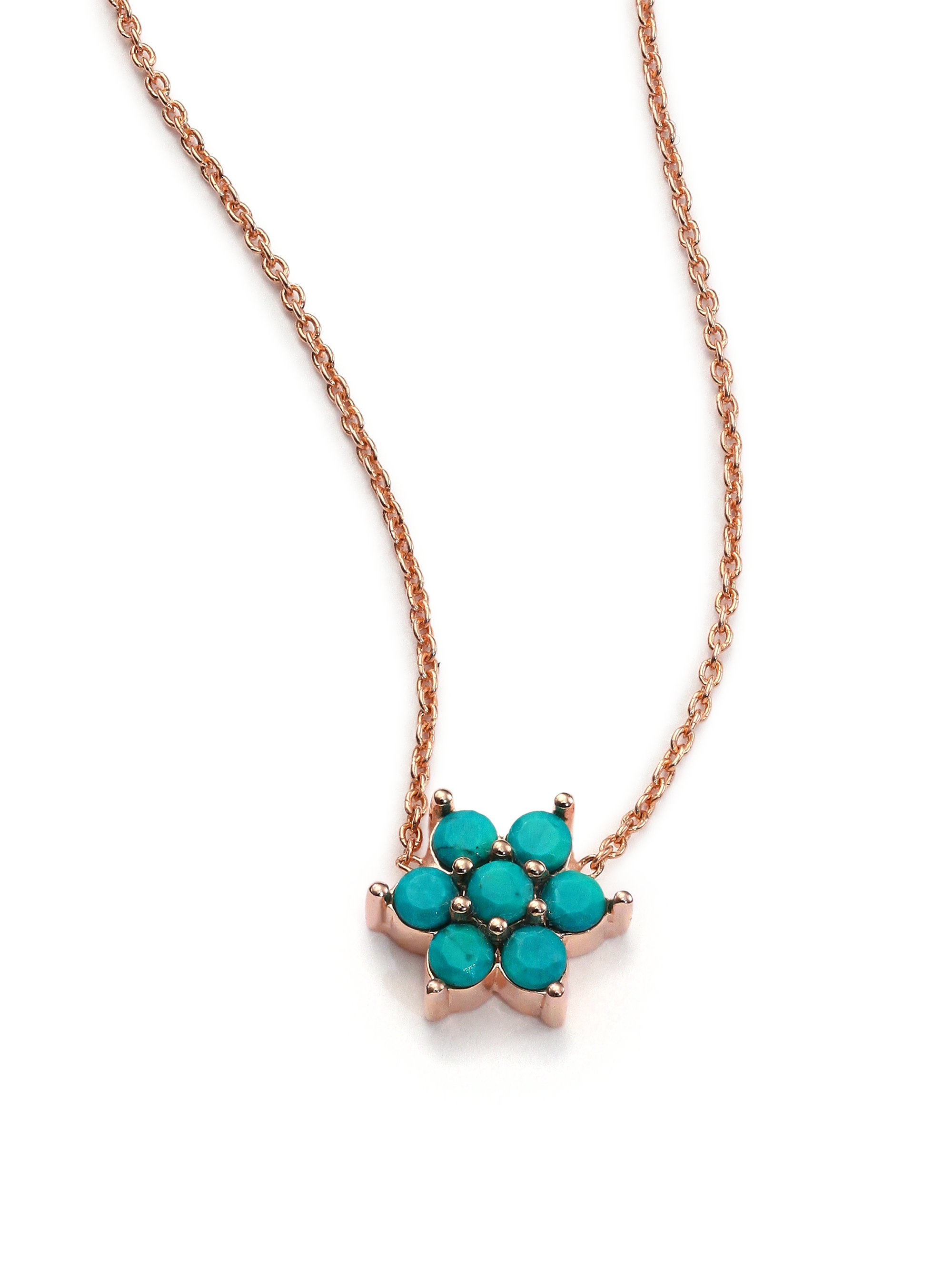 Lyst Ginette Ny Fallen Sky Turquoise 18k Rose Gold Star Necklace