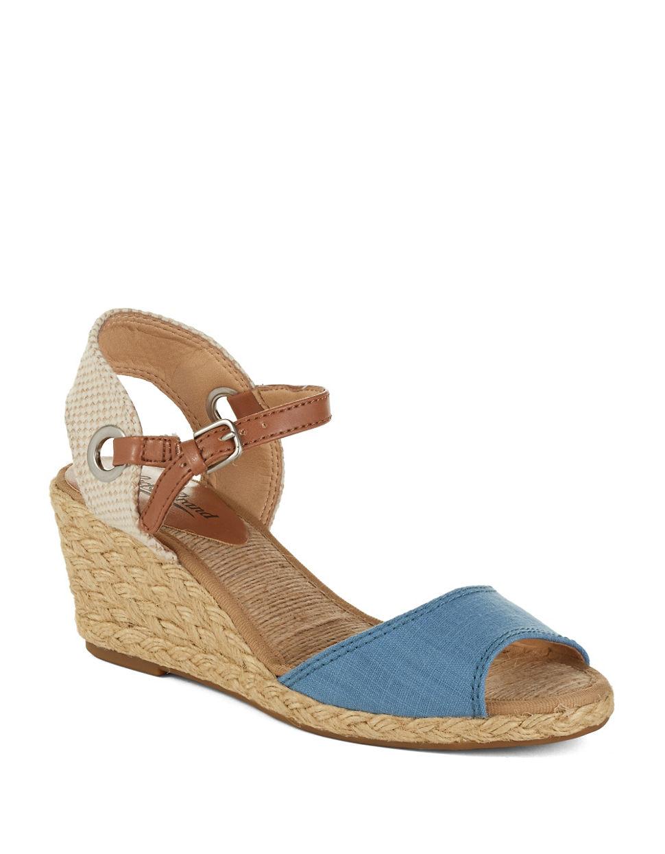 lucky brand kyndra wedge sandals in blue light blue lyst