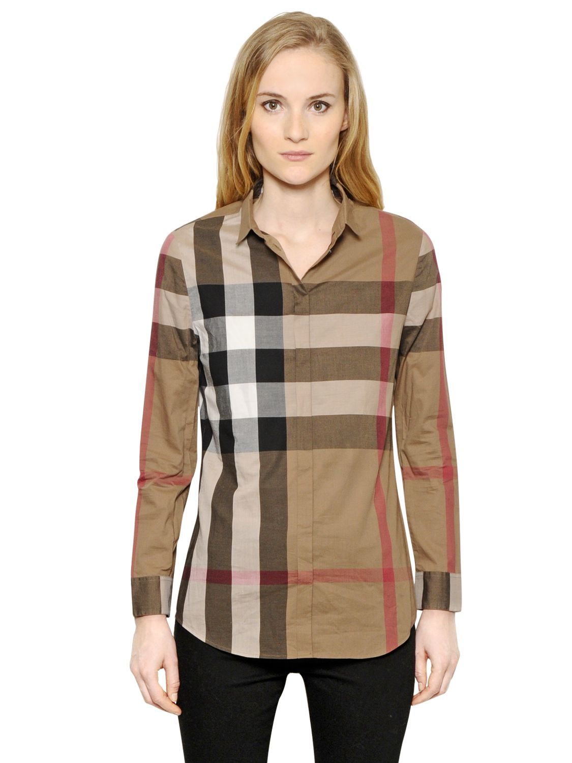 Burberry brit macro check cotton voile shirt in brown for Burberry brit checked shirt