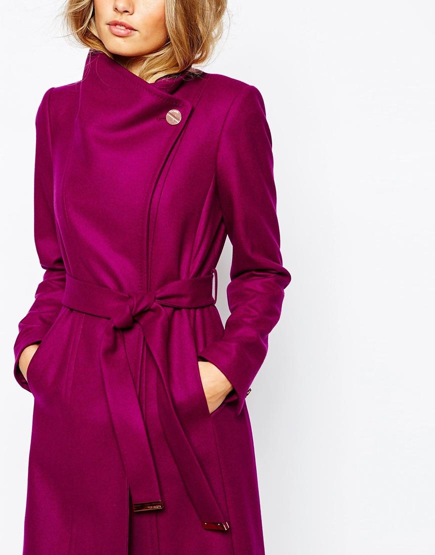 0010600e858338 Lyst - Ted Baker Lorili Long Button Detail Wrap Coat in Purple