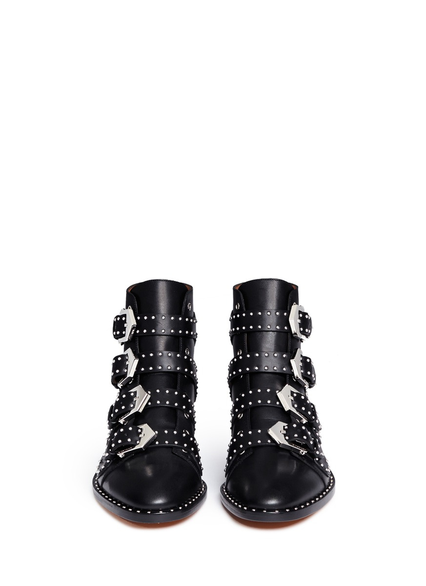 Givenchy Studded Leather Ankle Boots in Black | Lyst