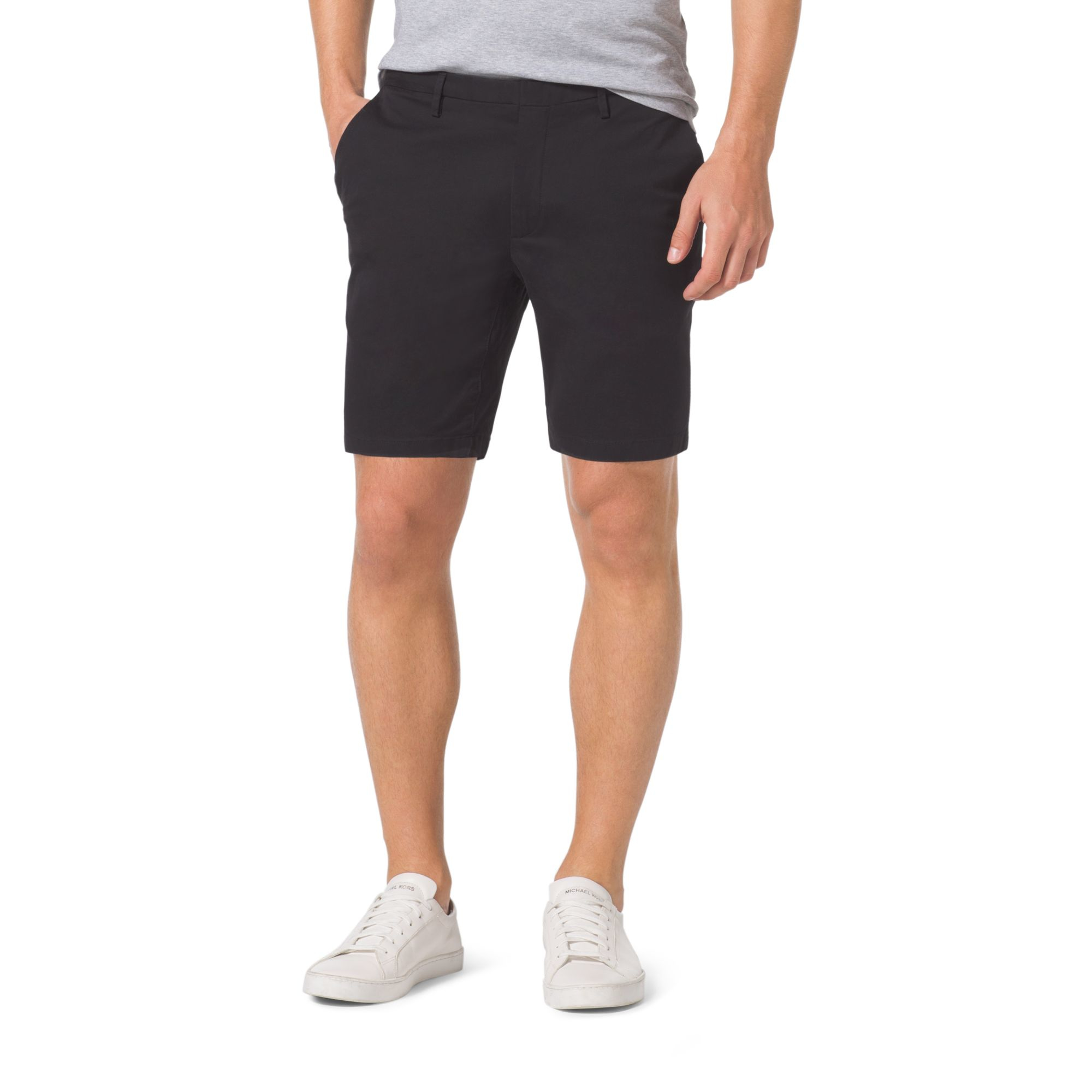 Michael kors Slim-fit Stretch-twill Shorts in Black for Men | Lyst