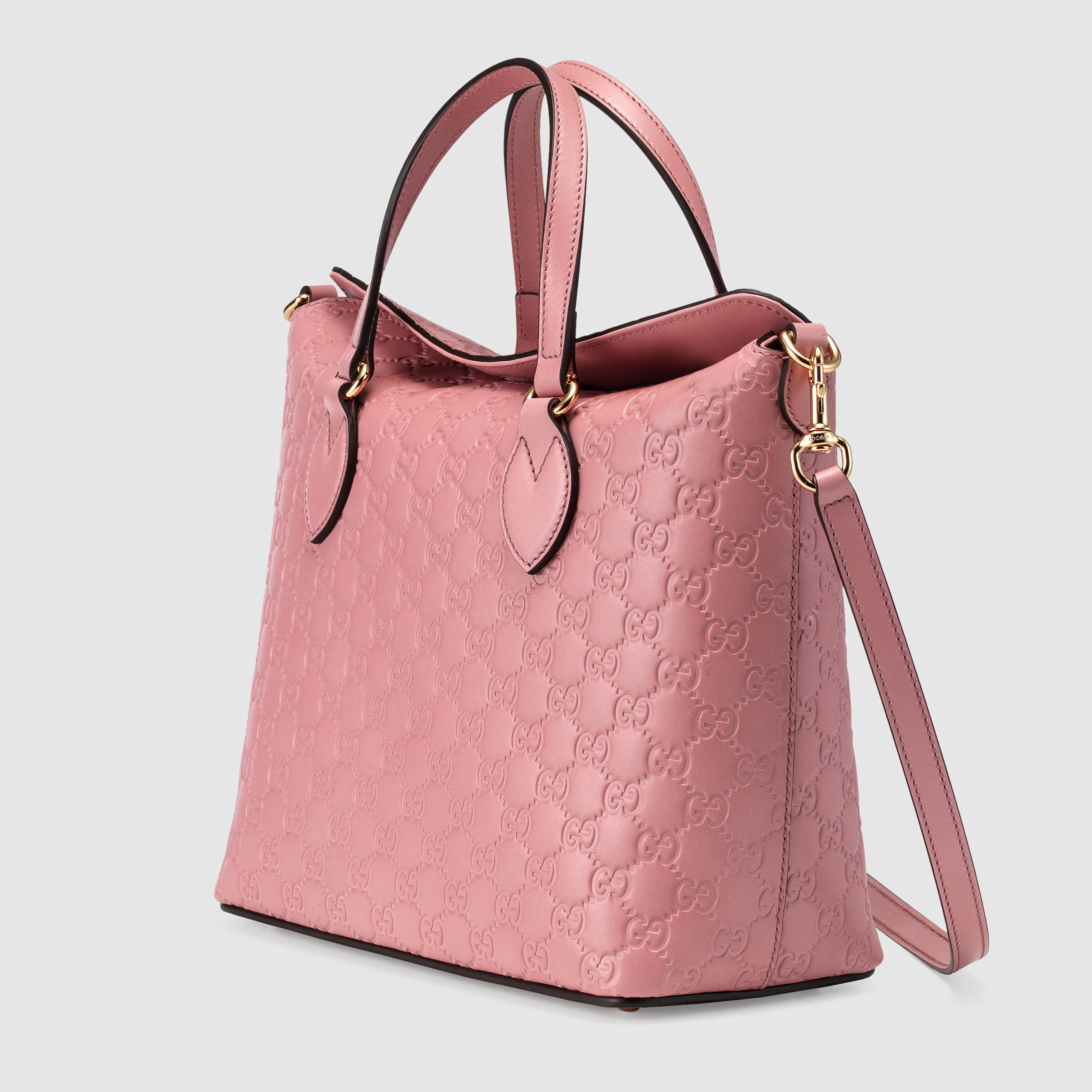 bd264f8958d2 Lyst - Gucci Signature Leather Top Handle Bag in Pink