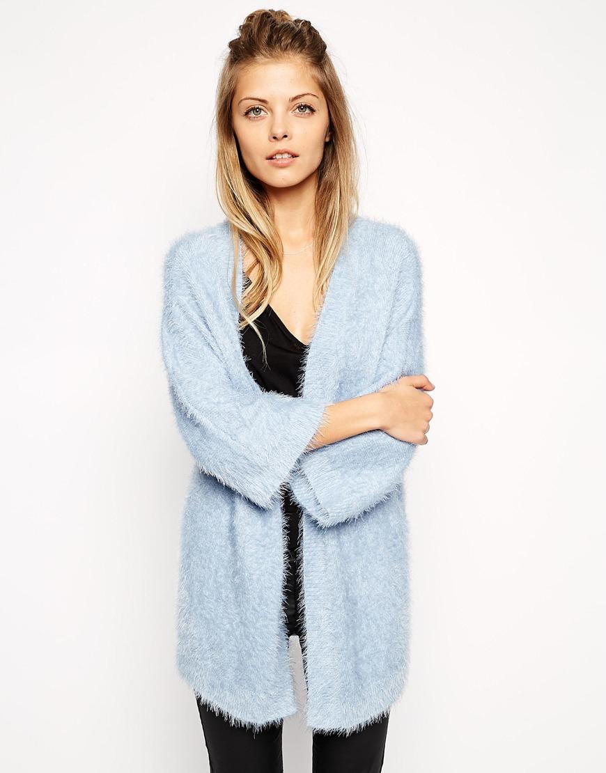 Lyst Asos Kimono Cardigan In Fluffy Knit In Blue