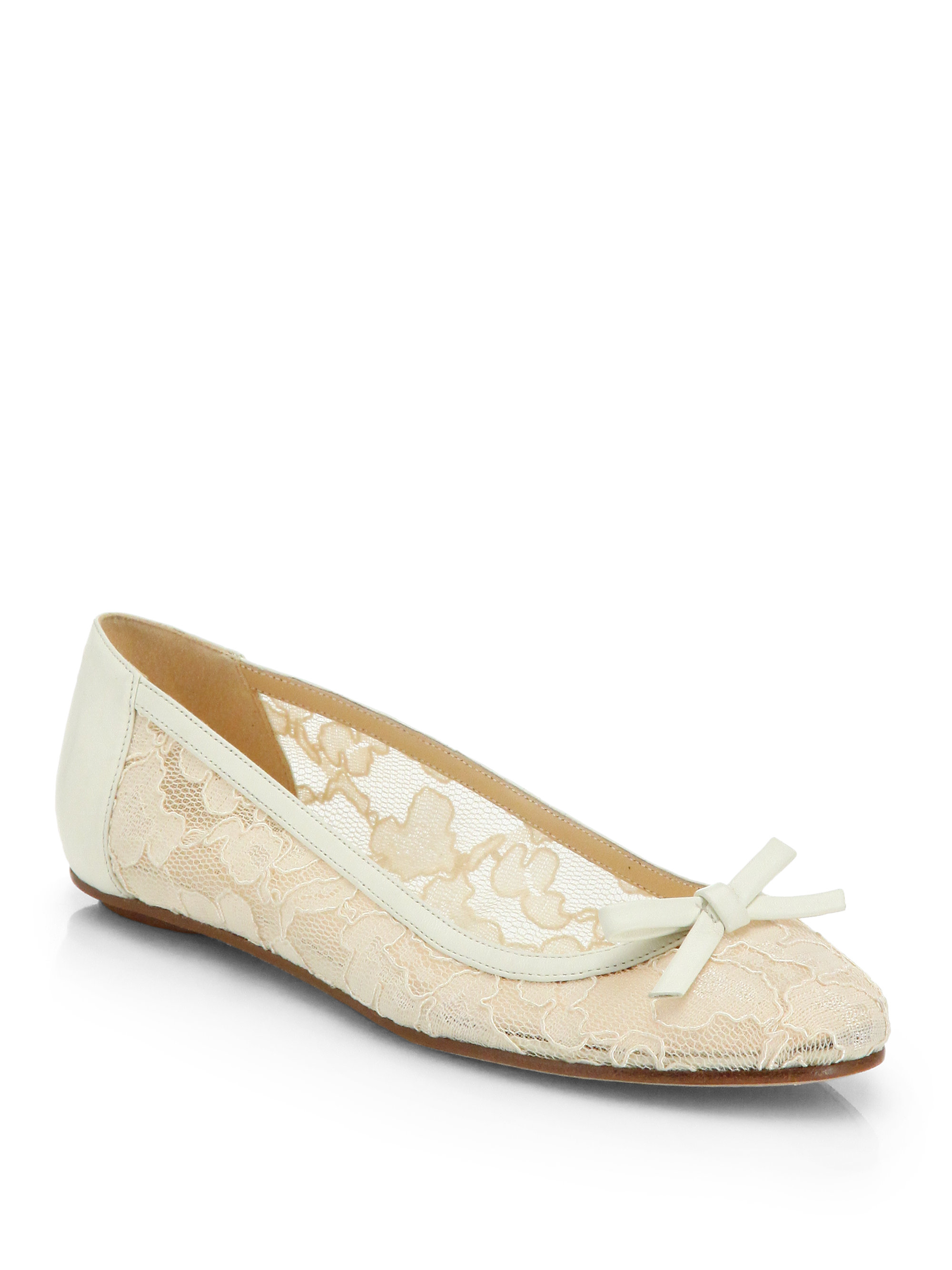 Wedding Table Lace Ballet Flats kate spade new york banner leather lace ballet flats in white lyst gallery